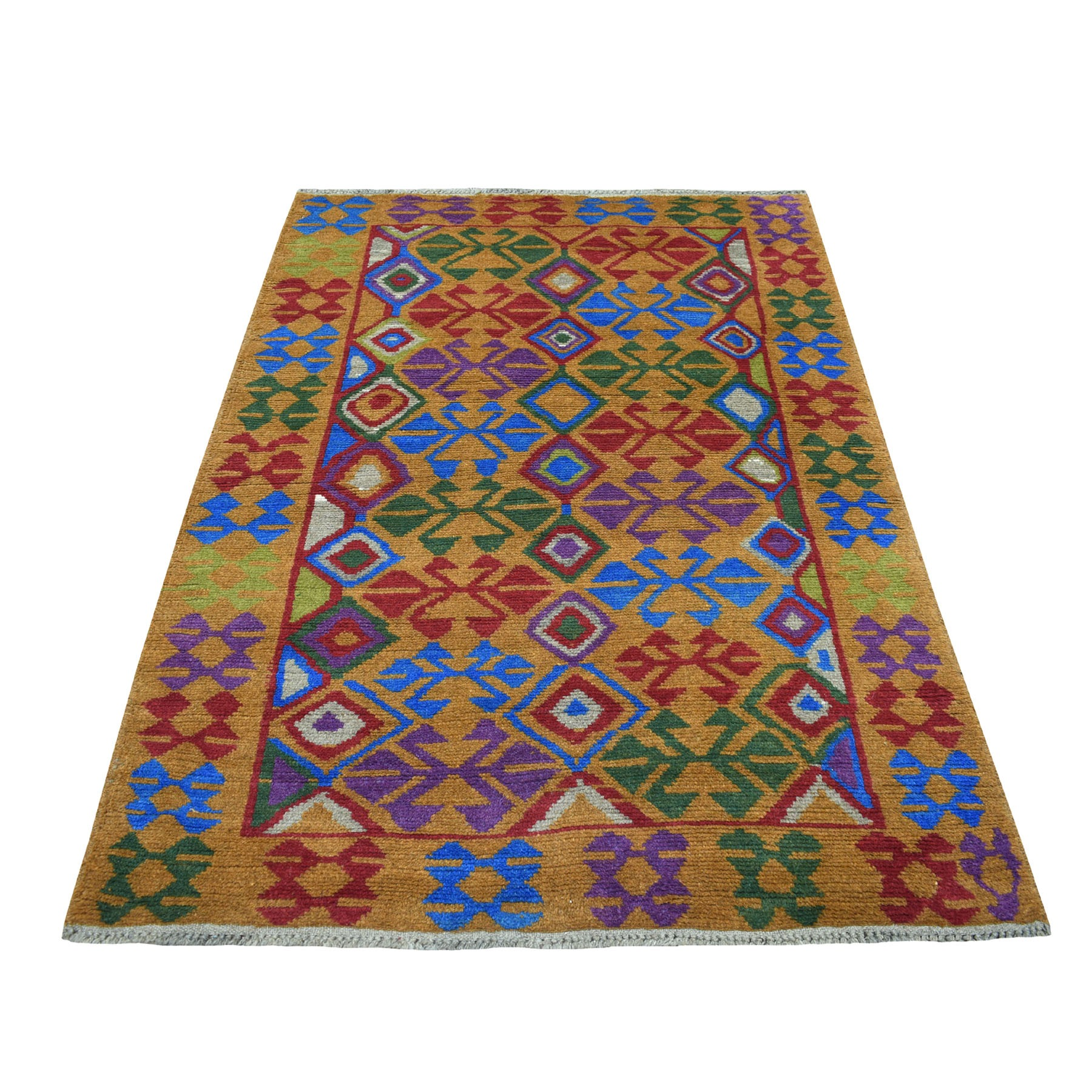 4'x6' Natural Dyes Colorful Afghan Baluch Tribal Design Hand Knotted Pure Wool Oriental Rug