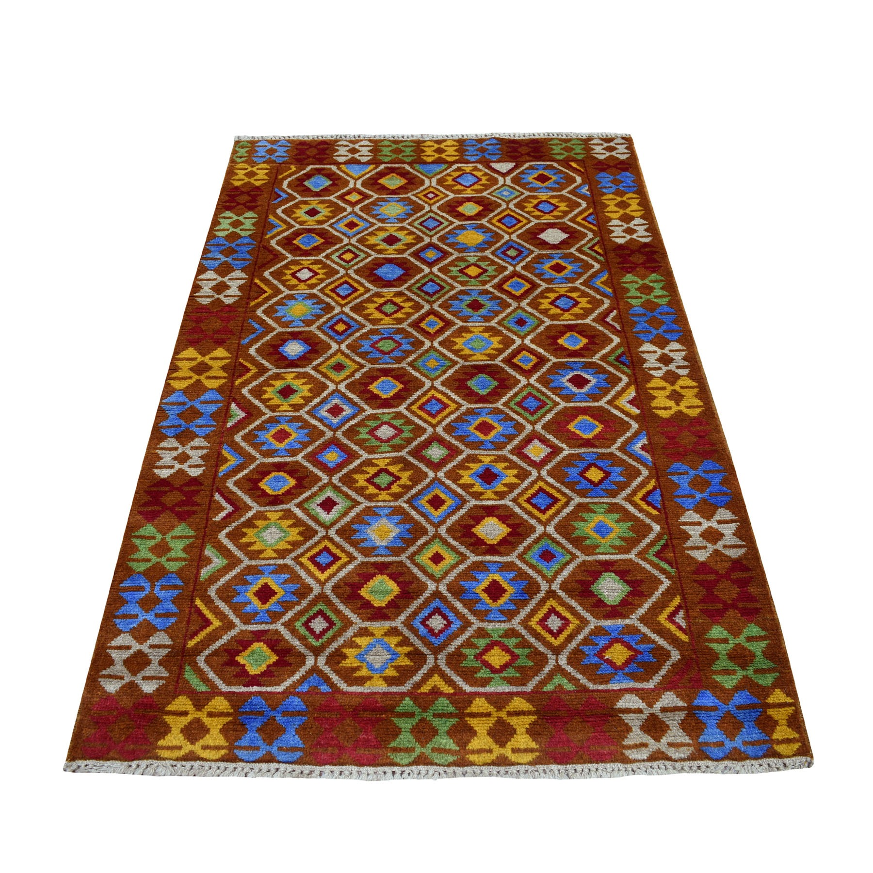 "3'6""x5'9"" Brown Tribal Design Colorful Afghan Baluch Pure Wool Hand Knotted Oriental Rug"