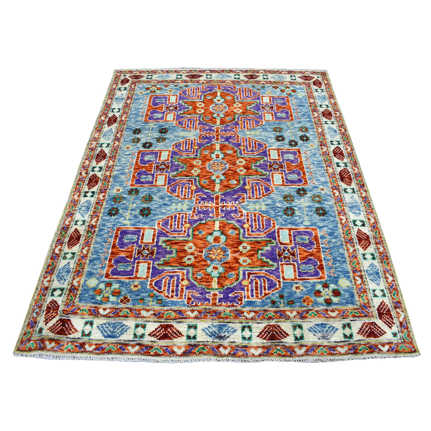 "5'x6'6"" Natural Dyes Colorful Afghan Baluch Geometric Design Hand Knotted 100% Wool Oriental Rug"