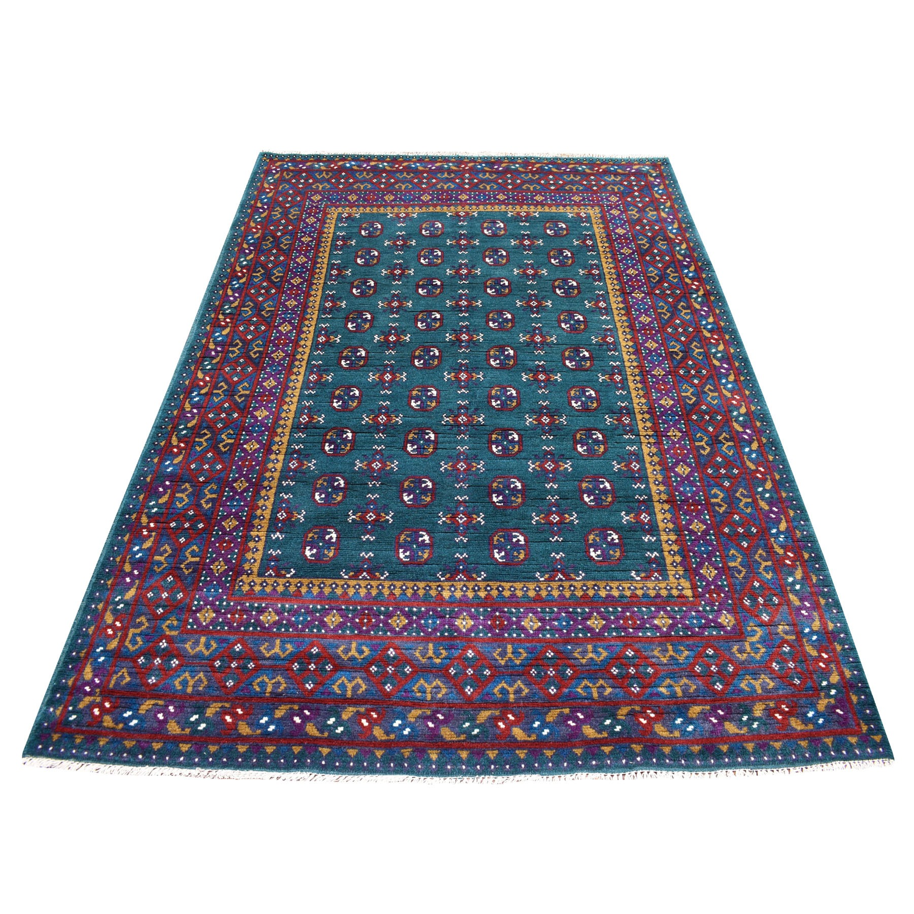 "5'5""X8' Green Natural Dyes Colorful Afghan Baluch Geometric Design Hand Knotted 100% Wool Oriental Rug moaeca6c"
