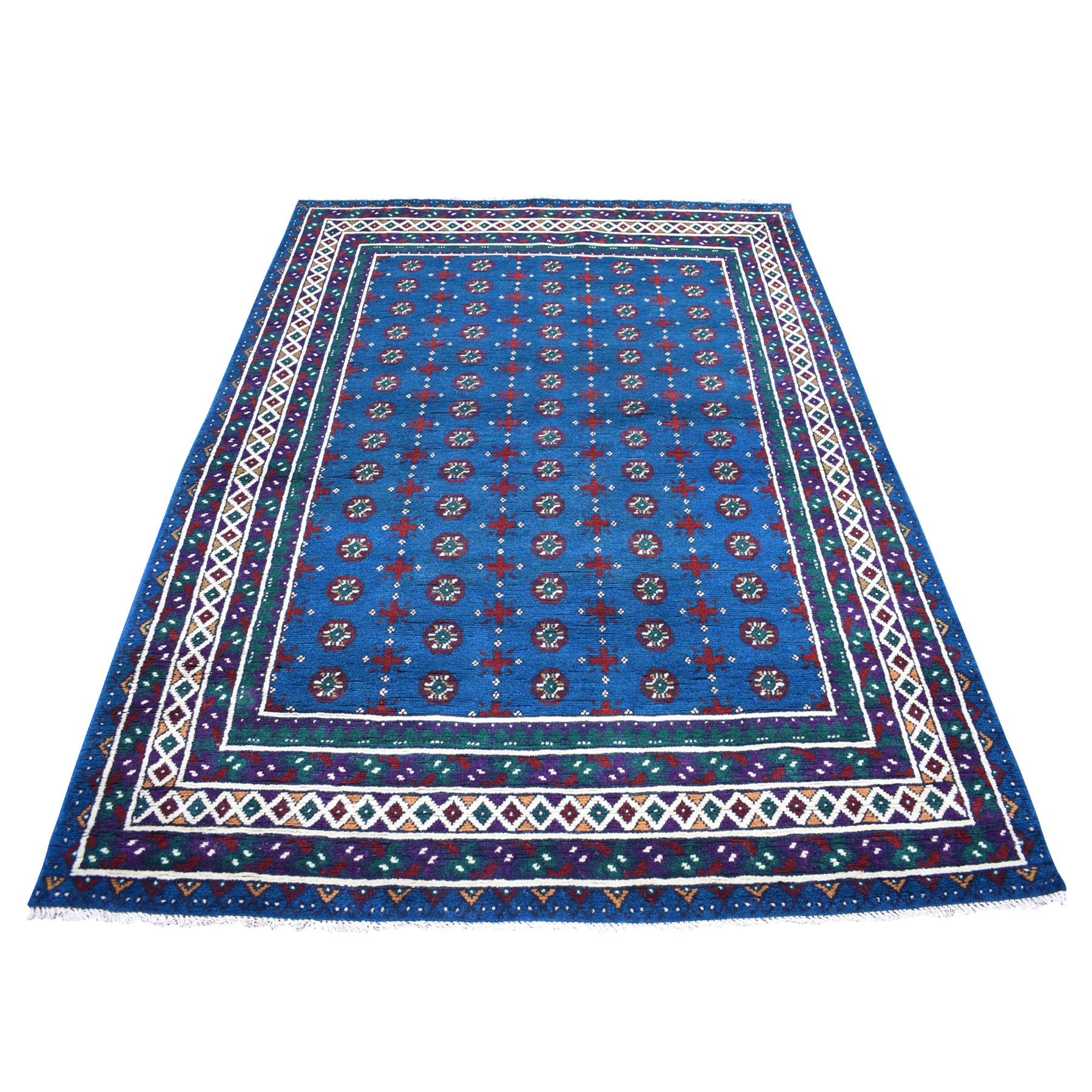 "5'5""x7'8"" Blue All Over Design Colorful Afghan Baluch Hand Knotted Pure Wool Oriental Rug"