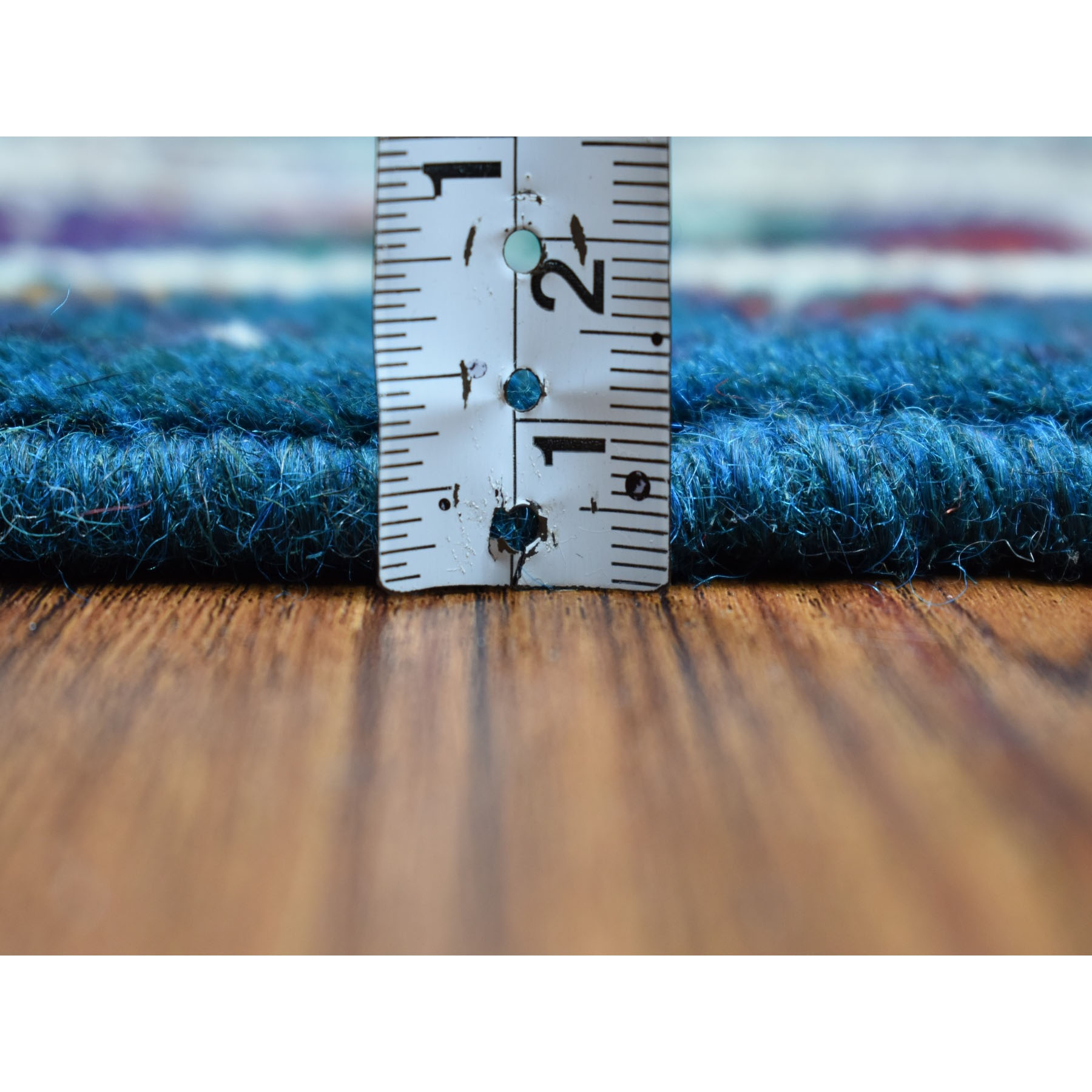 """5'5""""x7'8"""" Blue All Over Design Colorful Afghan Baluch Hand Knotted Pure Wool Oriental Rug"""