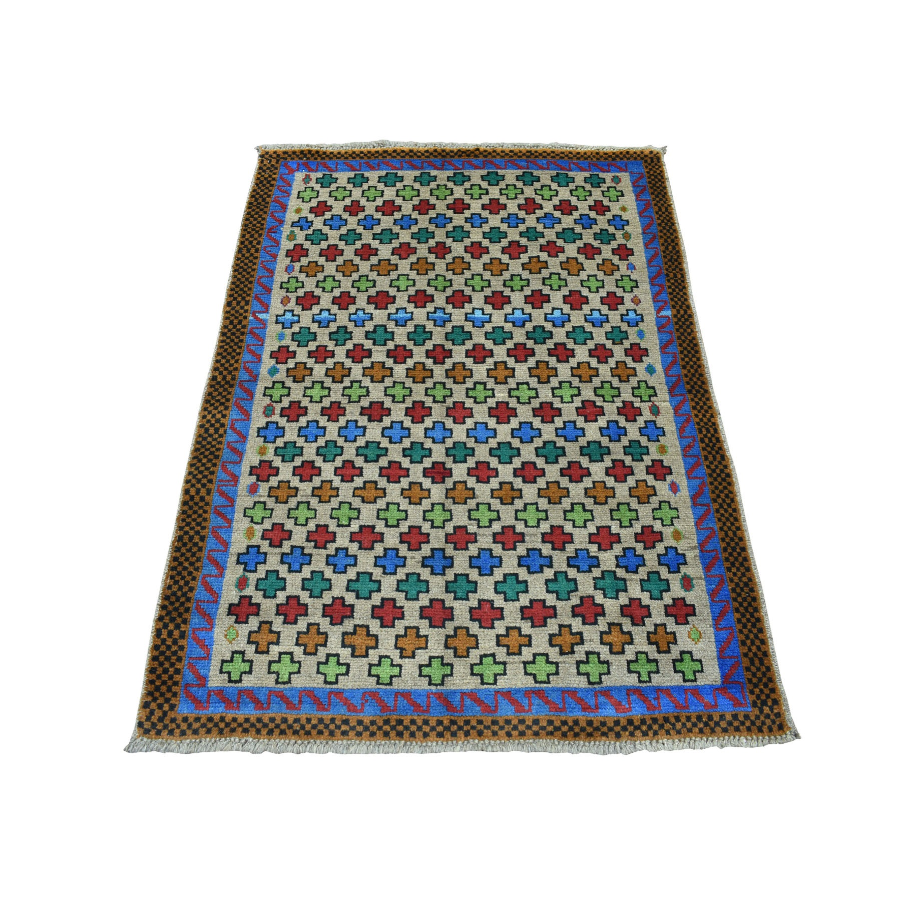 "3'4""x4'9"" Gray Hand Knotted Colorful Afghan Baluch All Over Design Pure Wool Oriental Rug"