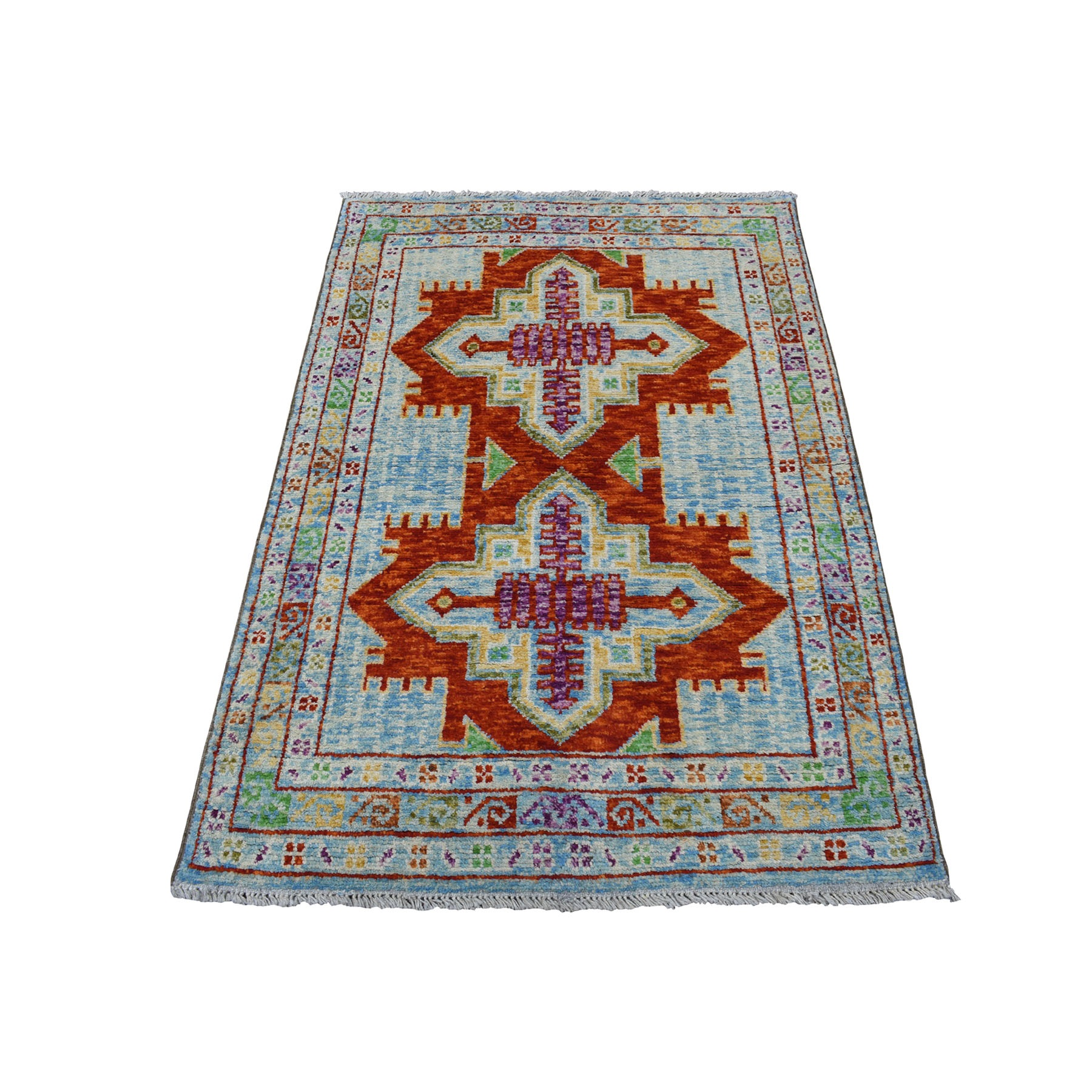 "3'4""X5' Blue Hand Knotted Colorful Afghan Baluch Geometric Design Pure Wool Oriental Rug moaeca69"