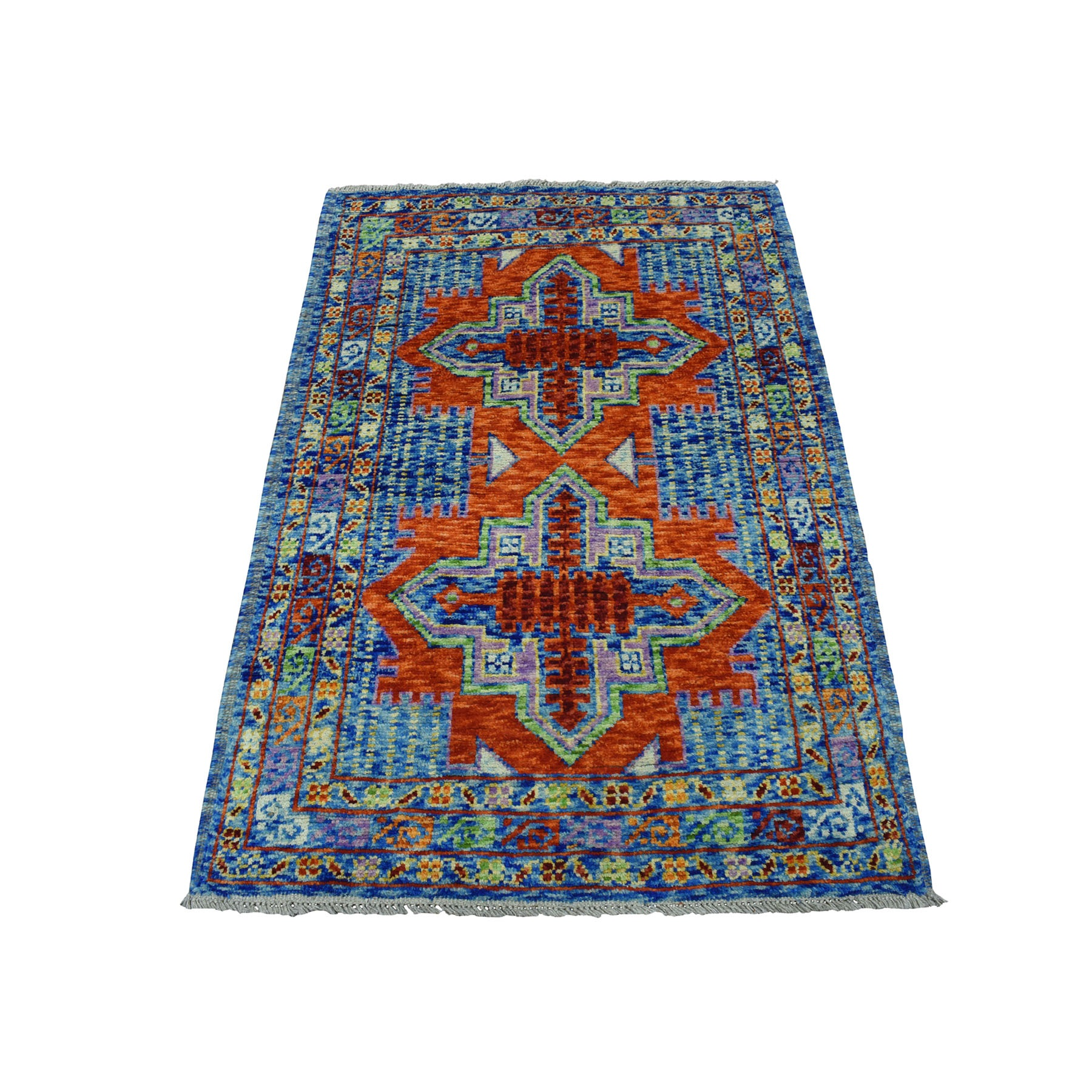 "3'4""X5' Orange Geometric Design Colorful Afghan Baluch Hand Knotted 100% Wool Oriental Rug moaeca7b"