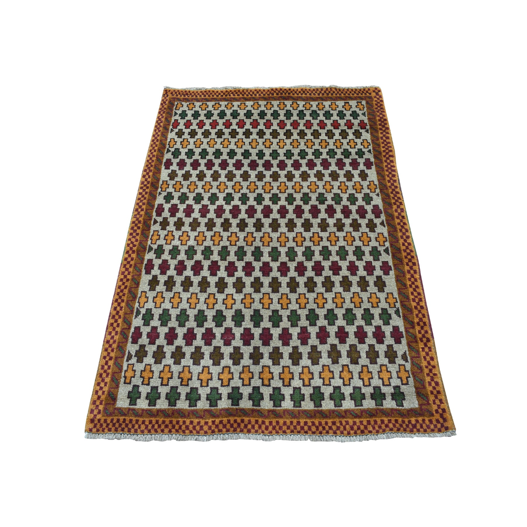 "3'2""X5' Gray Tribal Design Colorful Afghan Baluch Hand Knotted Pure Wool Oriental Rug moaeca7c"