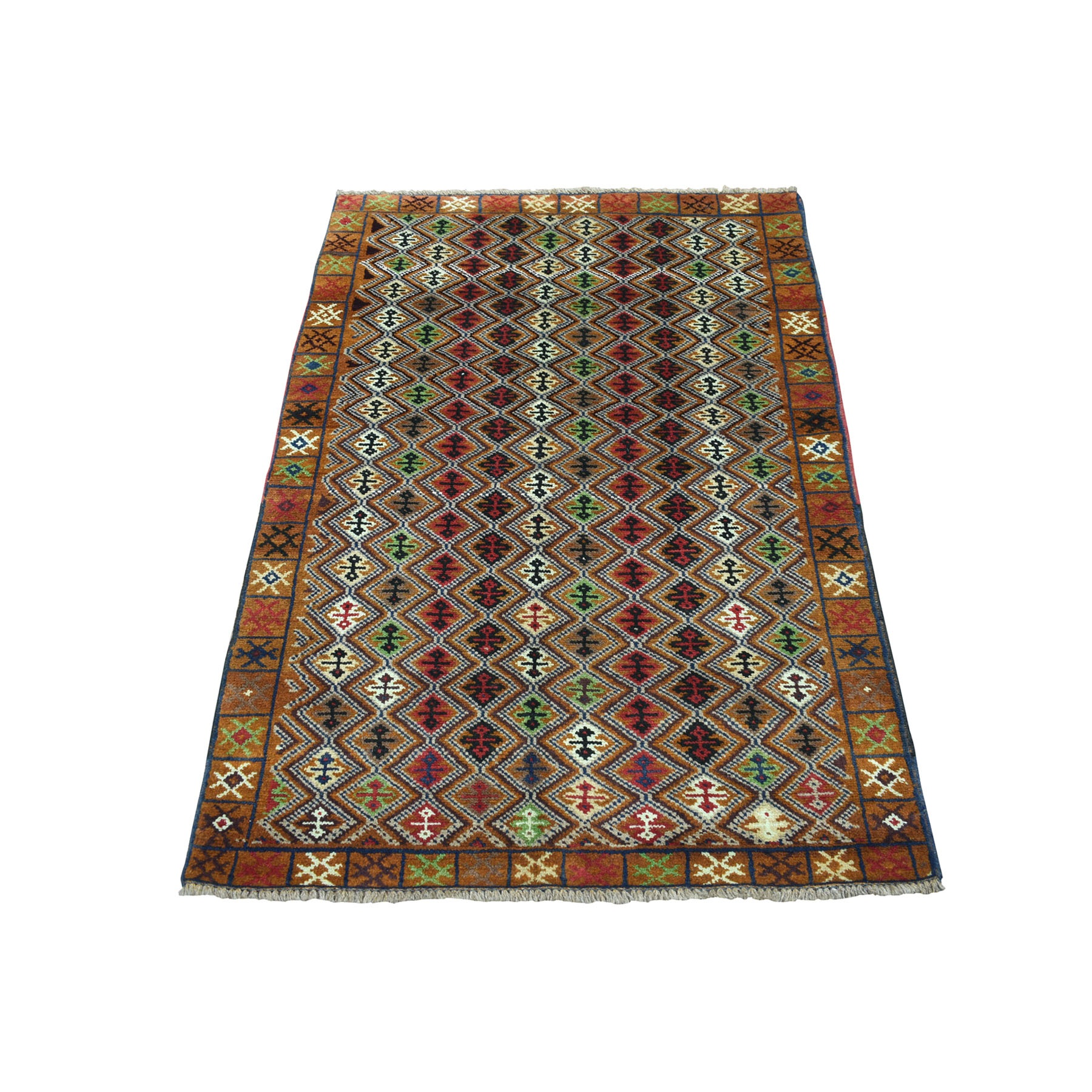 "3'1""X4'8"" Brown Colorful Afghan Baluch Geometric Design Hand Knotted 100% Wool Oriental Rug moaeca7e"