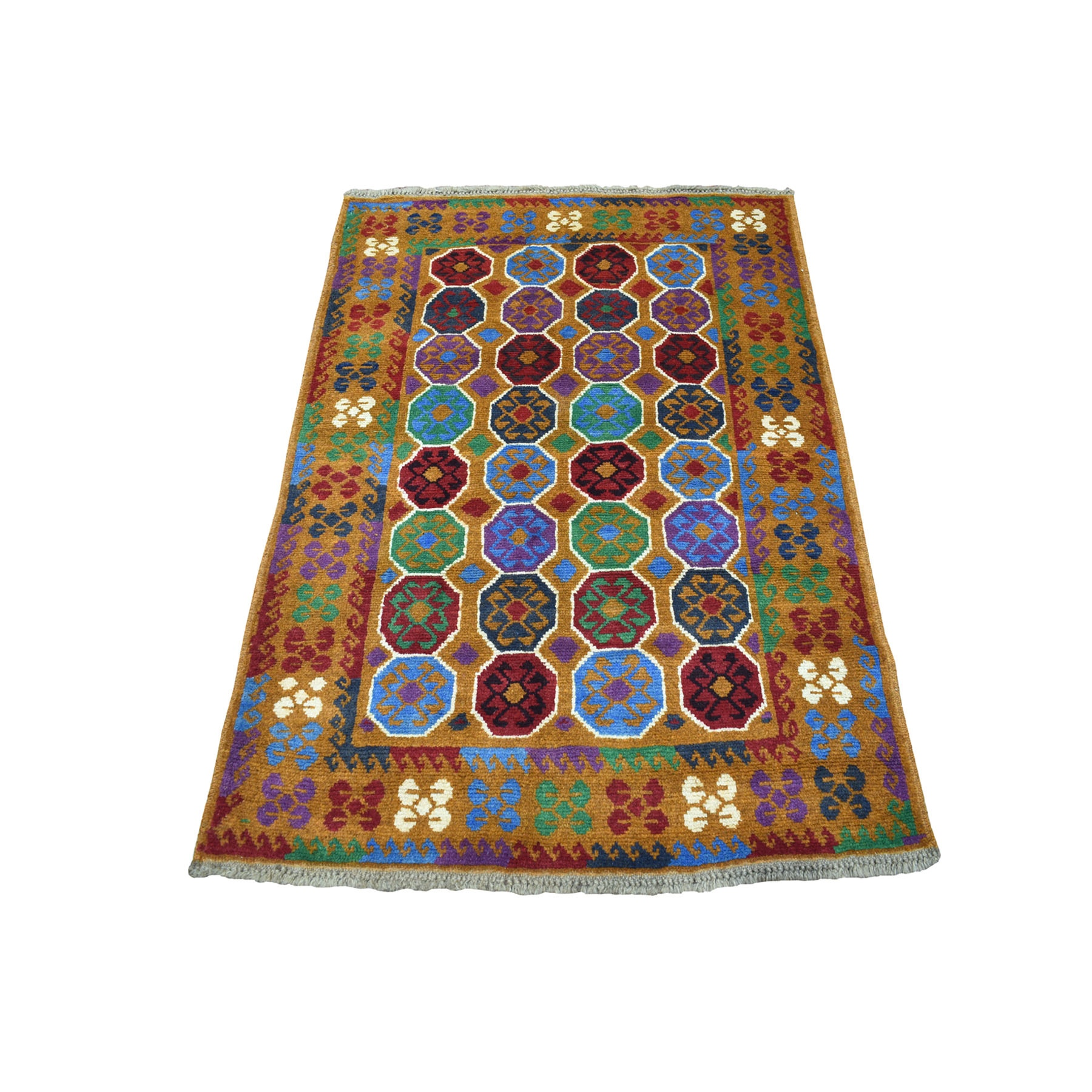 "3'6""x4'9"" Brown Colorful Afghan Baluch Elephant Feet Design Hand Knotted 100% Wool Oriental Rug"