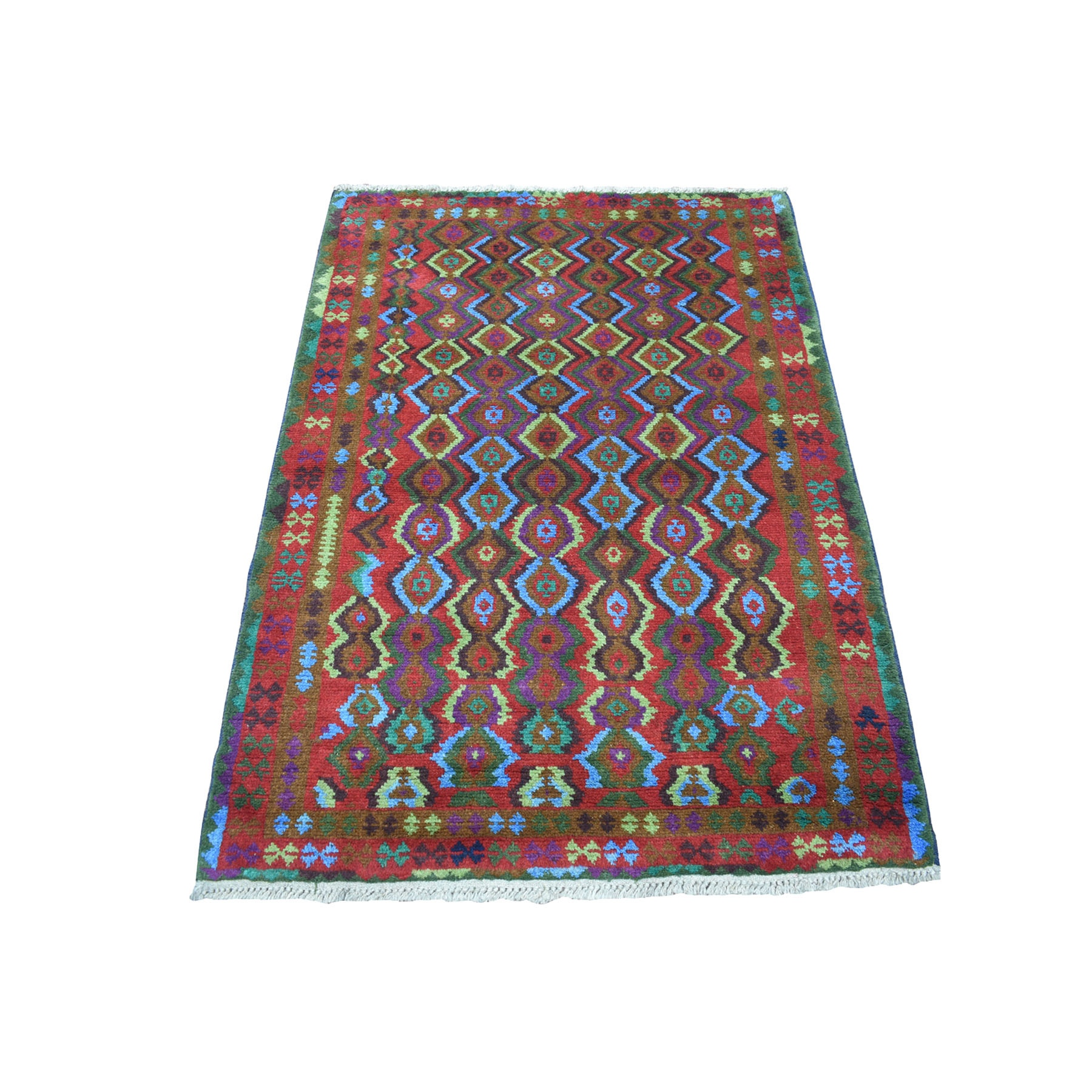"3'5""x4'8"" Purple Geometric Design Colorful Afghan Baluch Pure Wool Hand Knotted Oriental Rug"
