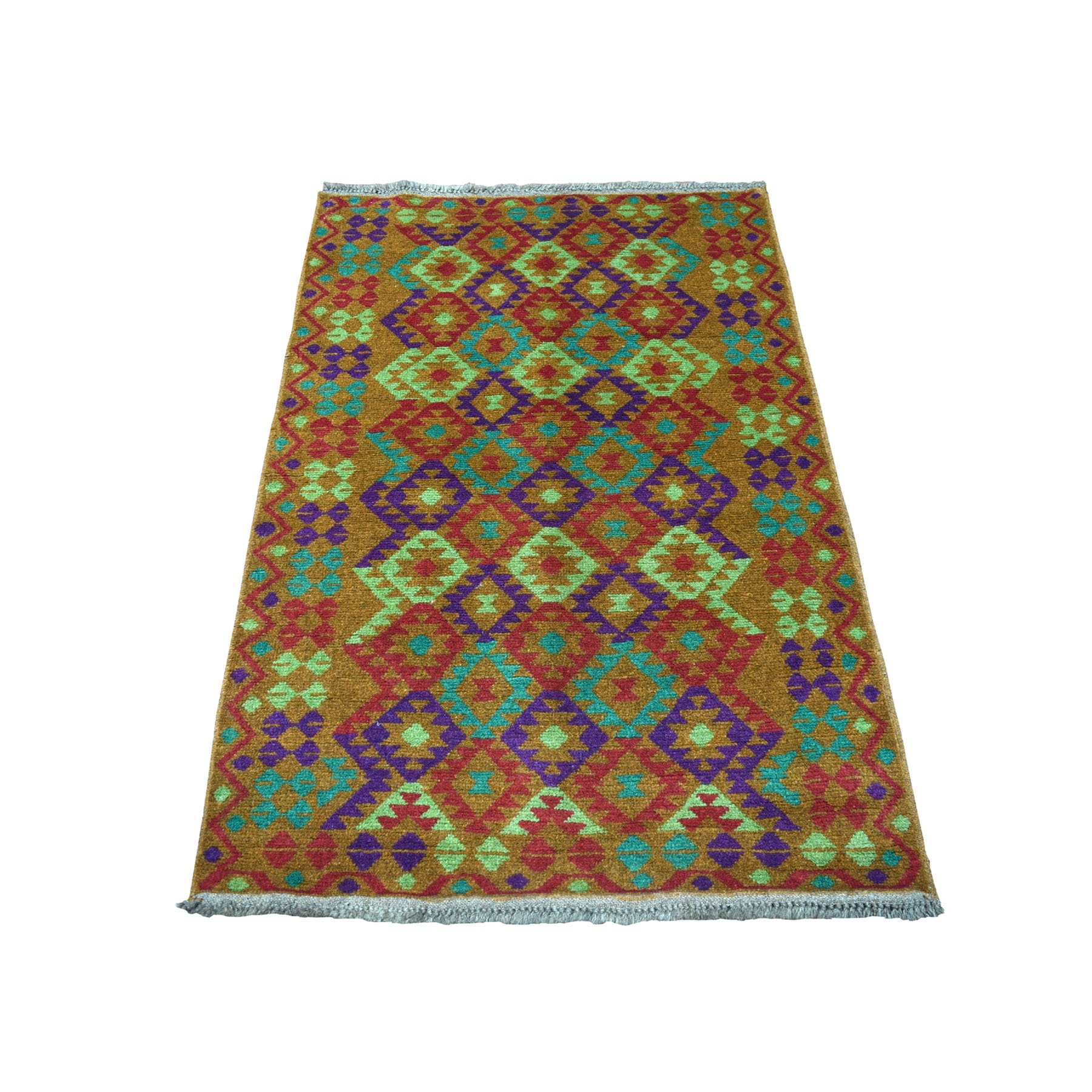 "3'1""x4'9"" Brown Colorful Afghan Baluch Geometric Design Hand Knotted Pure Wool Oriental Rug"