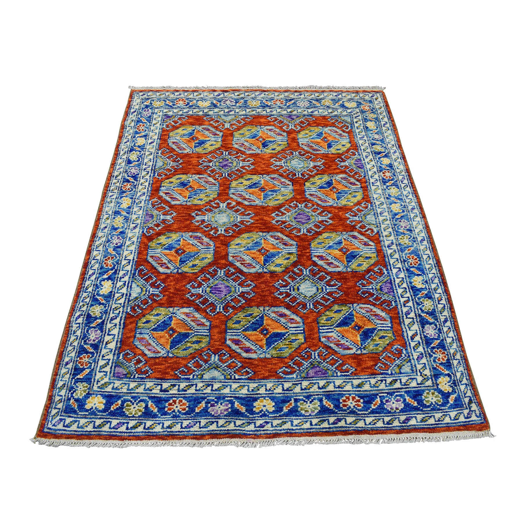4'x6' Orange Elephant Feet Design Colorful Afghan Baluch Hand Knotted Pure Wool Oriental Rug