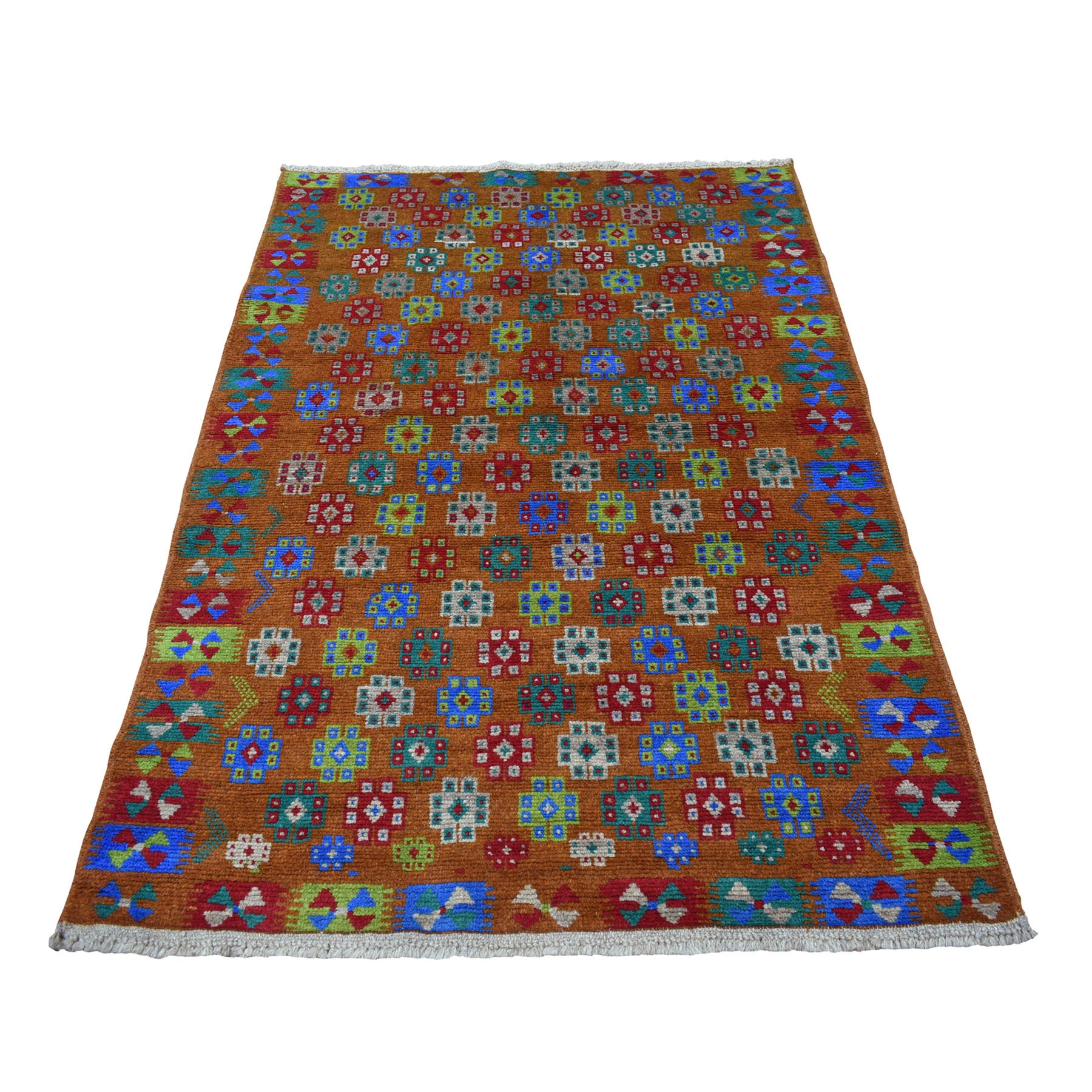 "4'1""x5'9"" Brown Tribal Design Colorful Afghan Baluch Hand Knotted Pure Wool Oriental Rug"