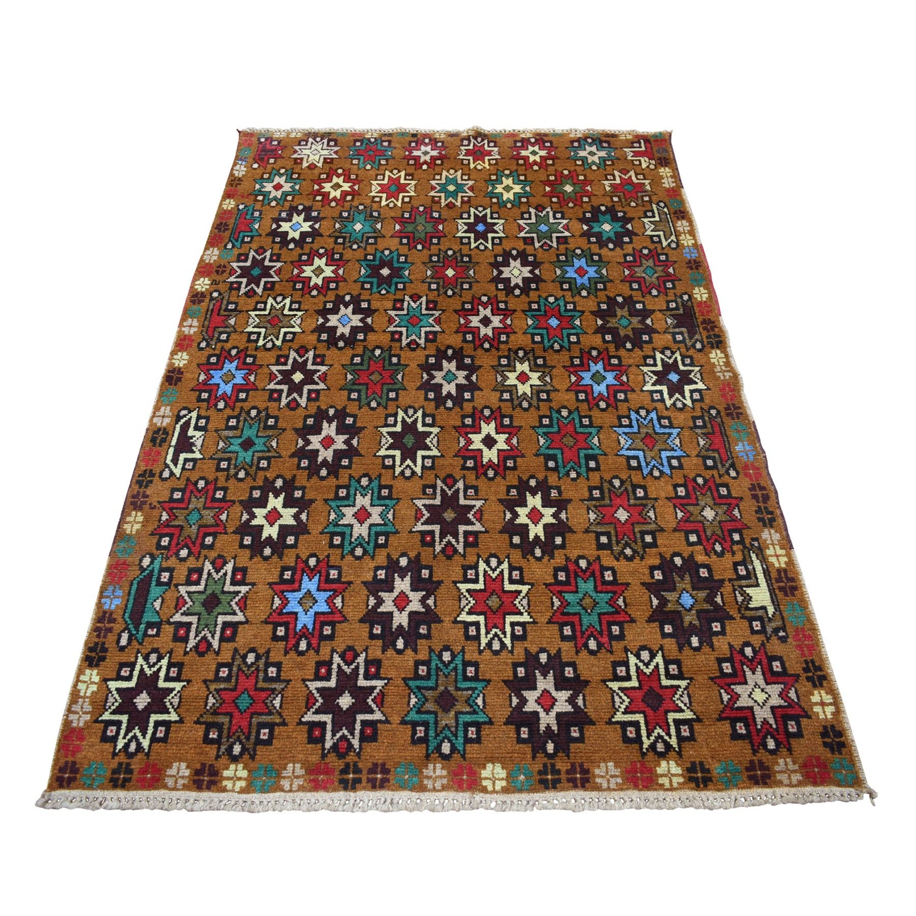 "4'1""x6'1"" Brown Hand Knotted Colorful Afghan Baluch Tribal Design Pure Wool Oriental Rug"