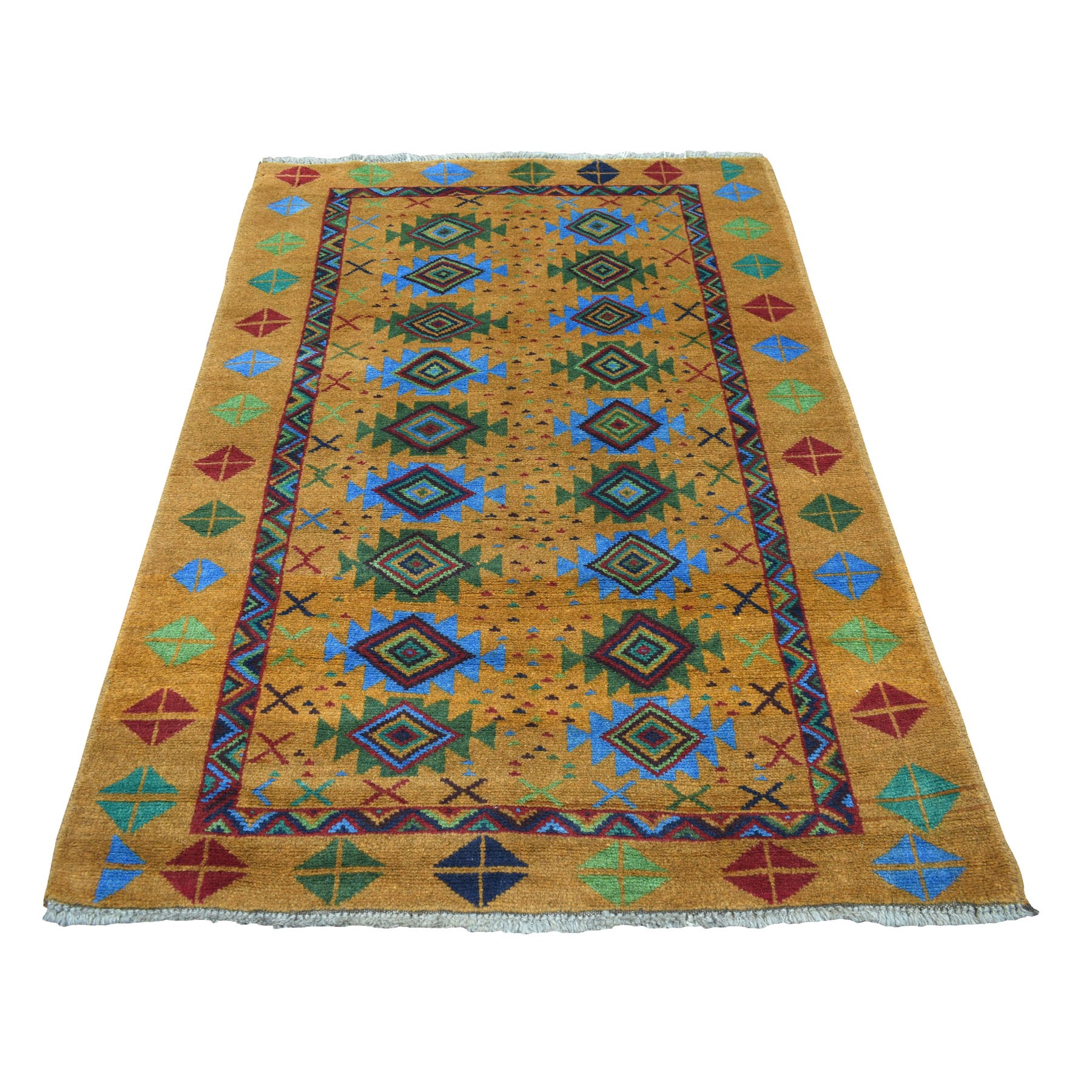 "4'x6'1"" Natural Dyes Colorful Afghan Baluch Geometric Design Hand Knotted Pure Wool Oriental Rug"