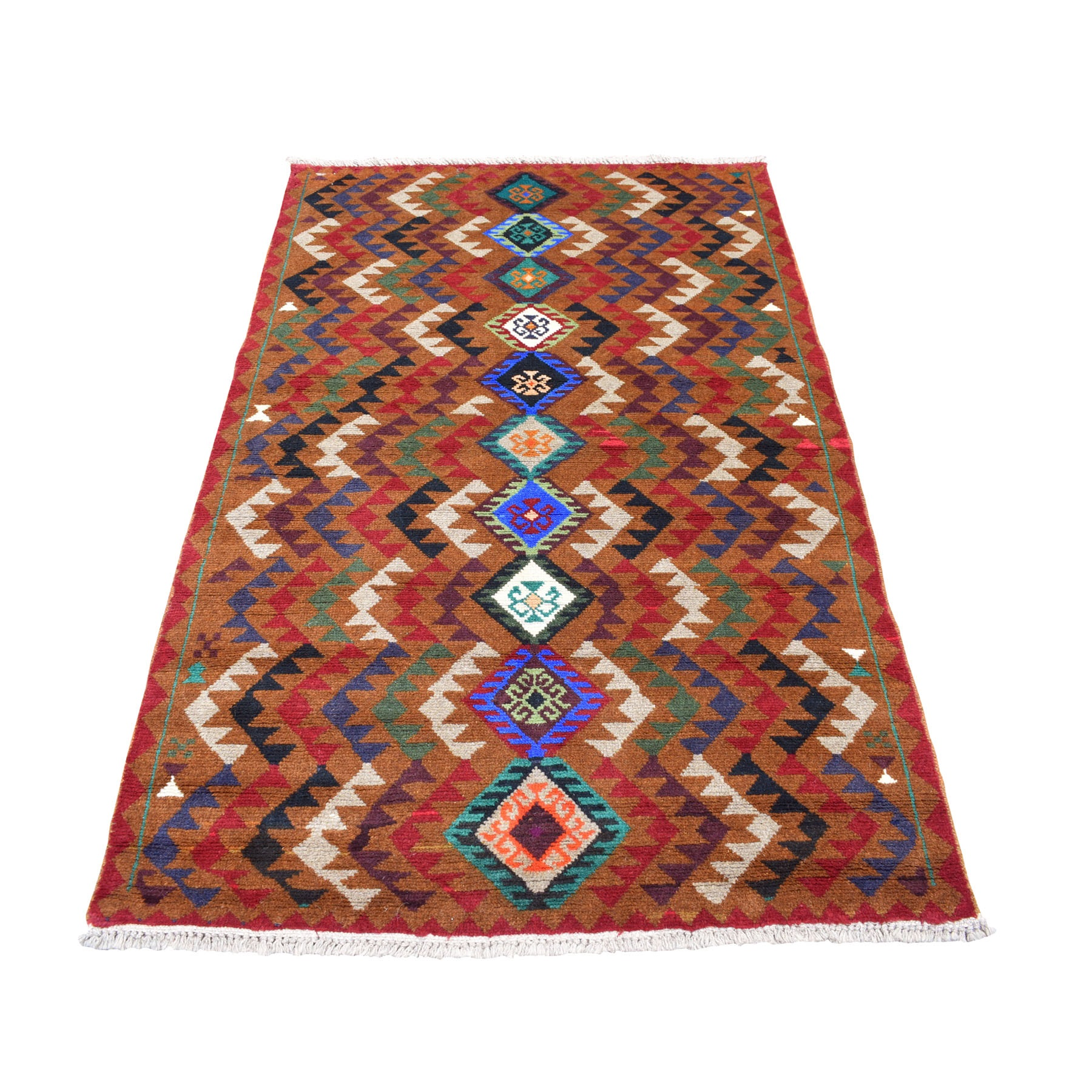 "3'10""x6'2"" Brown Geometric Design Colorful Afghan Baluch Hand Knotted 100% Wool Oriental Rug"