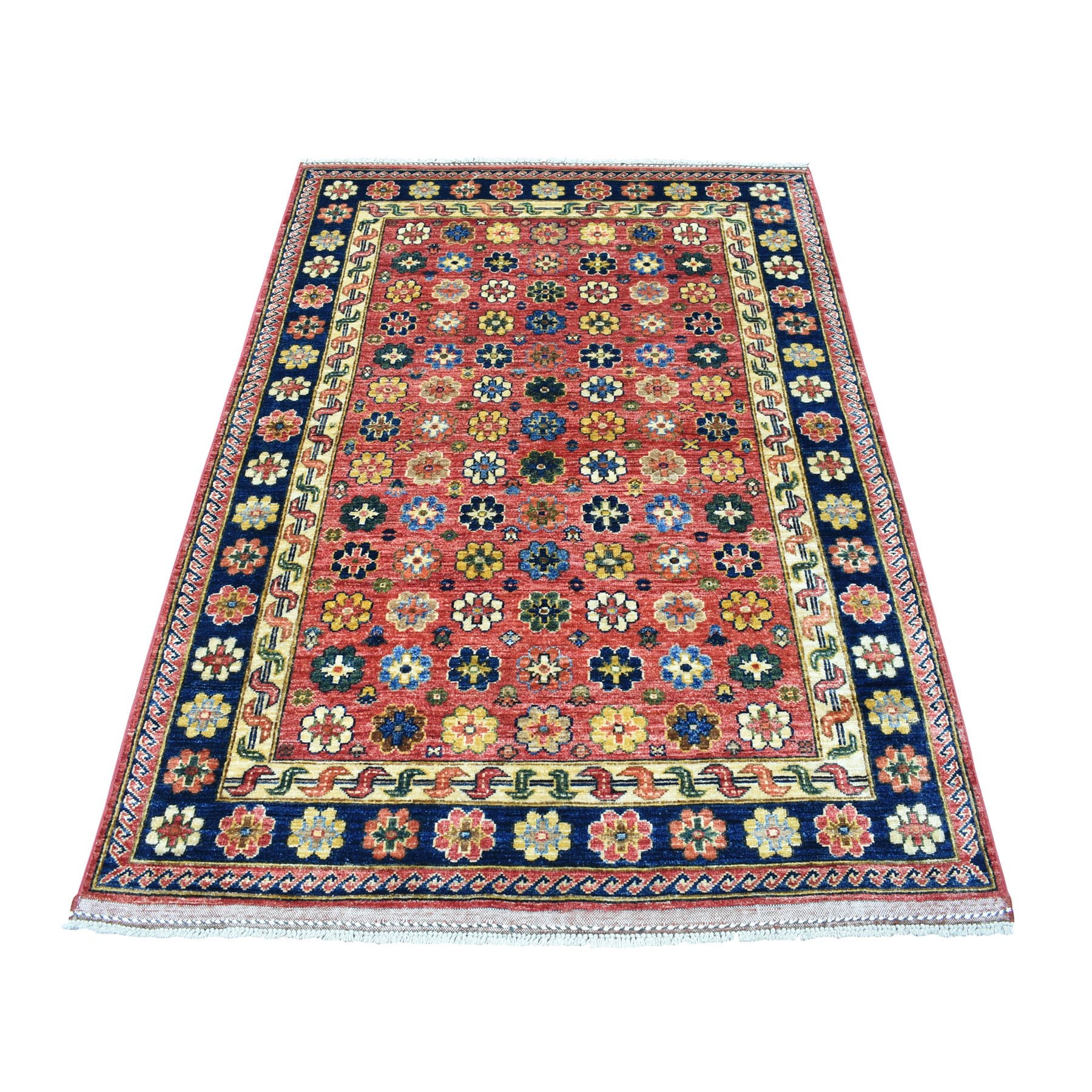 """4'1""""X6' Hand Knotted Afghan Ersari Natural Dyes All Over Design Pure Wool Oriental Rug moaeca9a"""