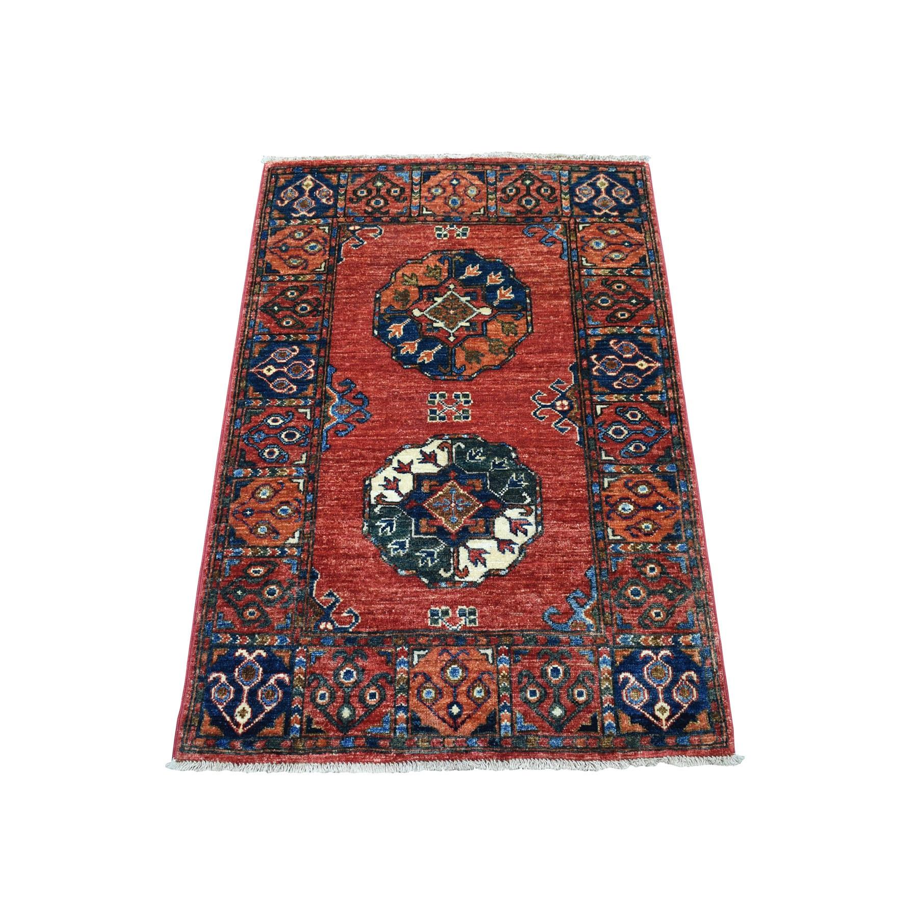 "2'8""X3'10"" Red Afghan Ersari Elephant Feet Design Pure Wool Hand Knotted Oriental Rug moaeca96"