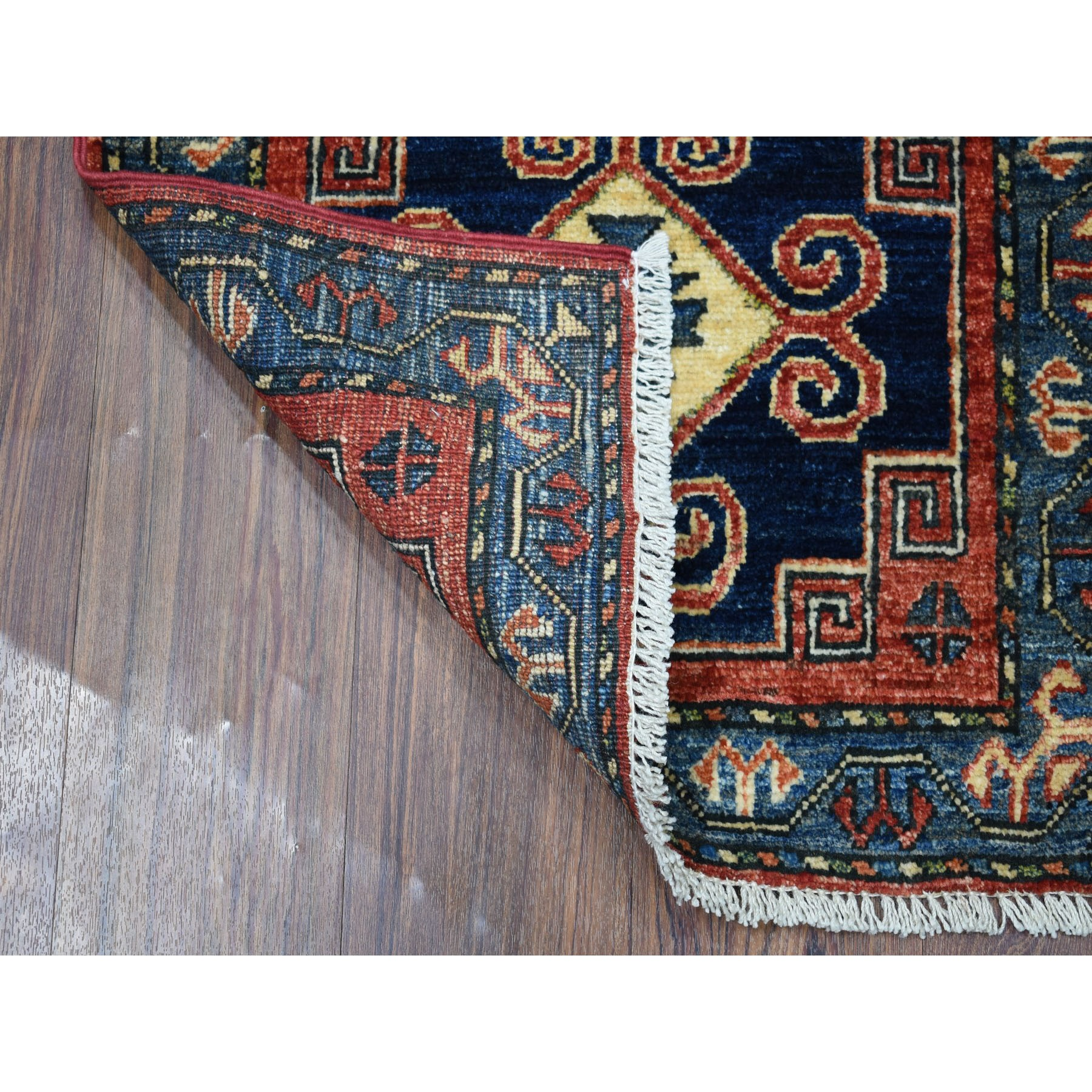 2-x3- Red Afghan Ersari Geometric Design Pure Wool Hand Knotted Oriental Rug