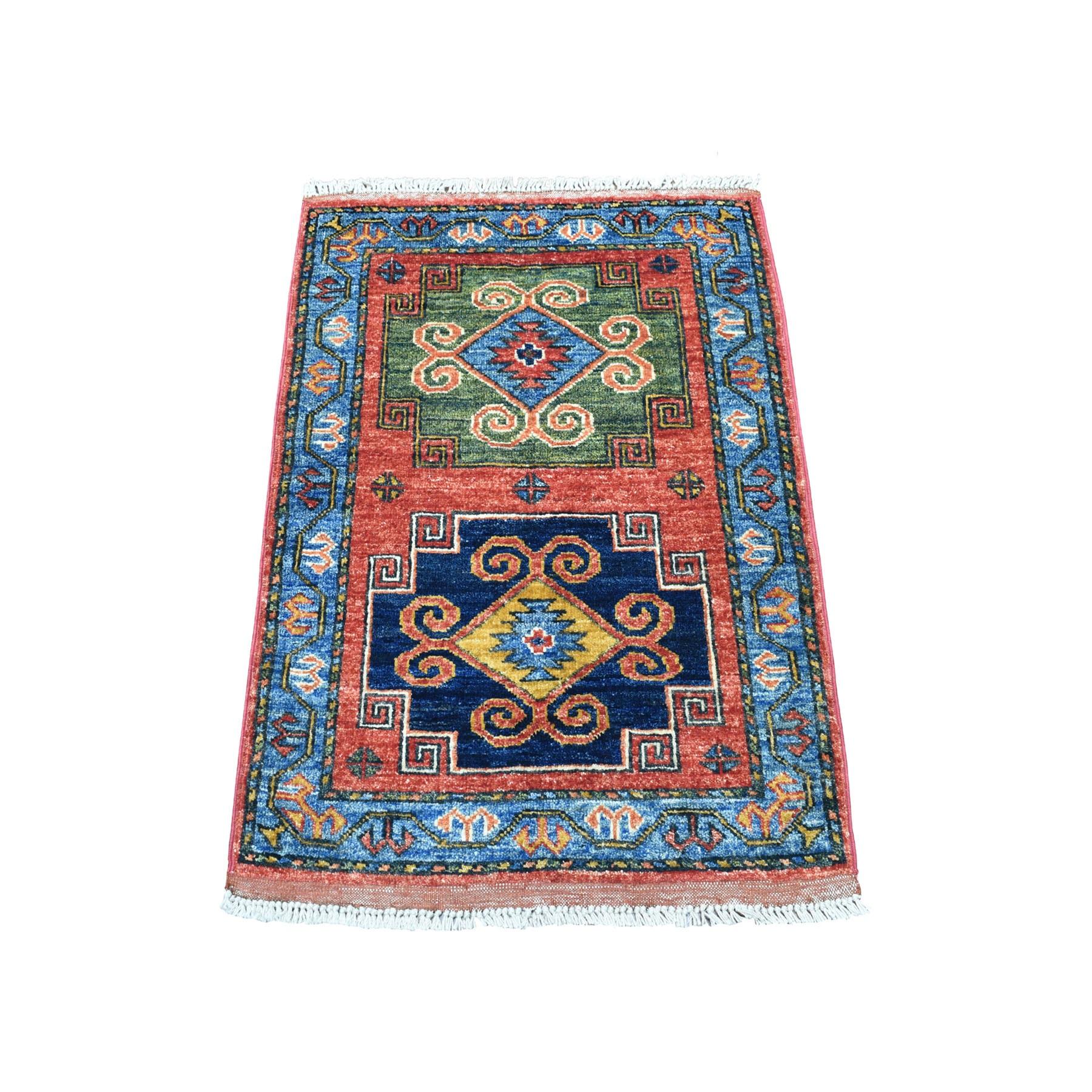 "2'1""X3' Red Geometric Design Afghan Ersari Hand Knotted Pure Wool Oriental Rug moaecba6"