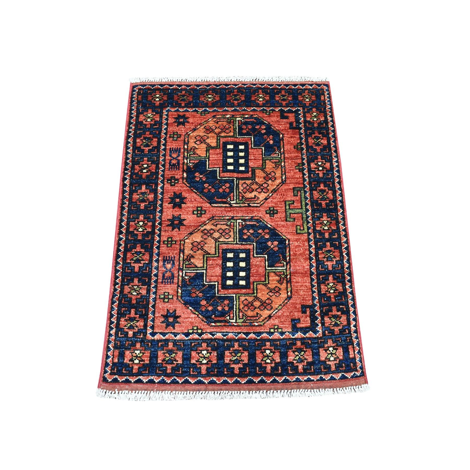 "2'1""X3' Red Elephant Feet Design Afghan Ersari Pure Wool Hand Knotted Oriental Rug moaecba7"