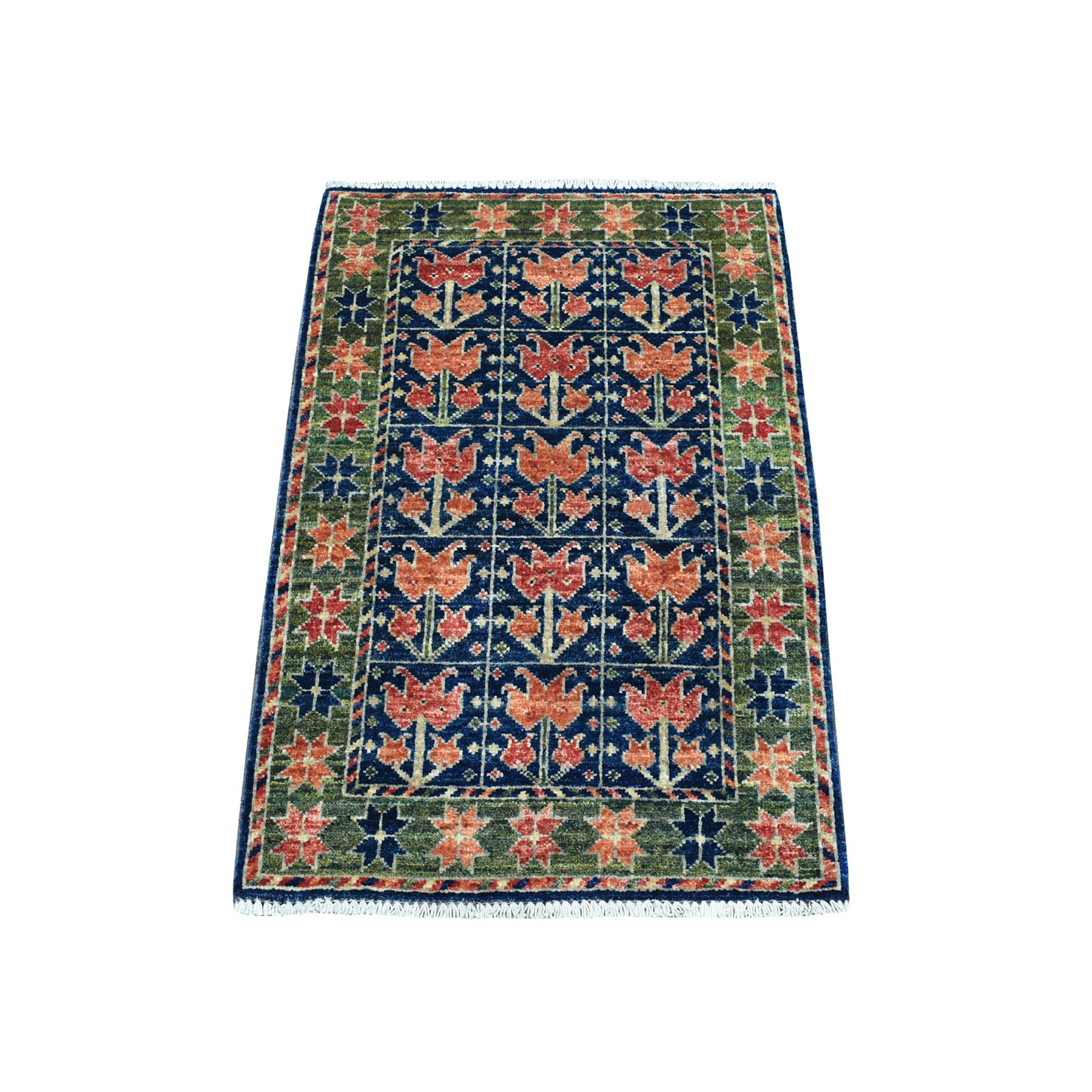 "2'1""X3'1"" Blue Afghan Ersari Tribal Design Hand Knotted Pure Wool Oriental Rug moaecbba"