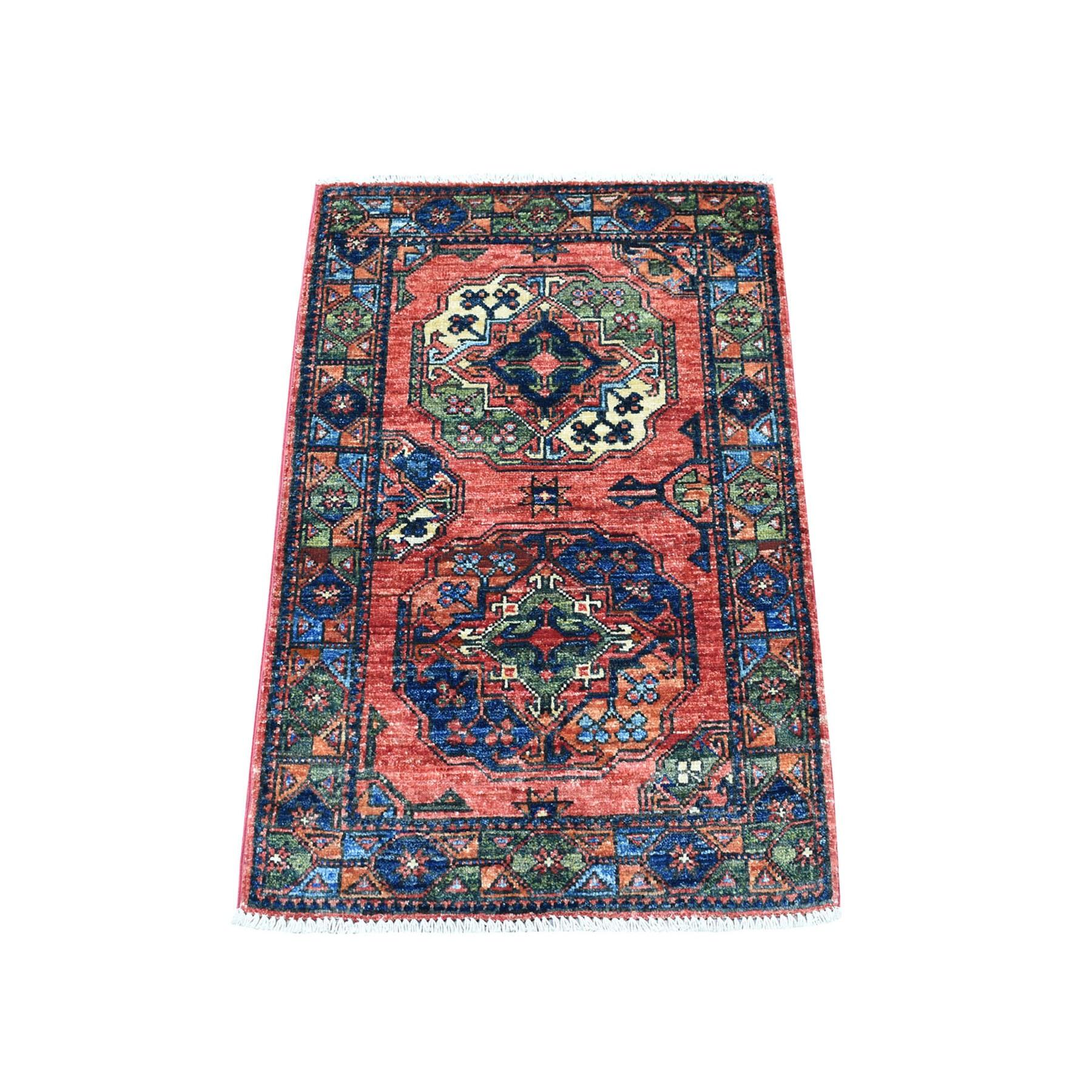 2'X3' Blue Elephant Feet Design Afghan Ersari Hand Knotted Pure Wool Oriental Rug moaecbb8