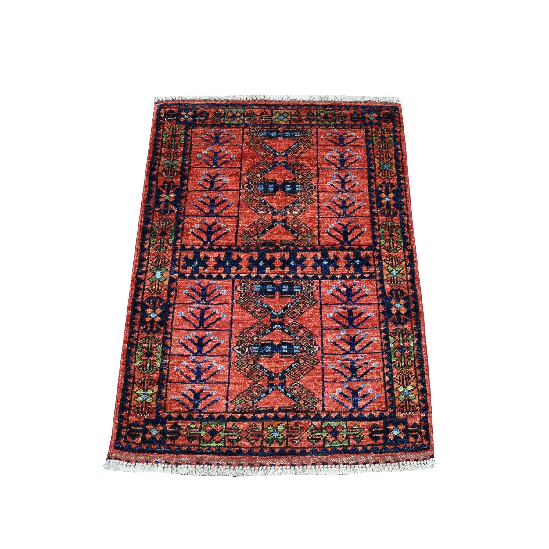 "2'2""X3' Red Afghan Ersari Geometric Design Hand Knotted Pure Wool Oriental Rug moaecbcc"