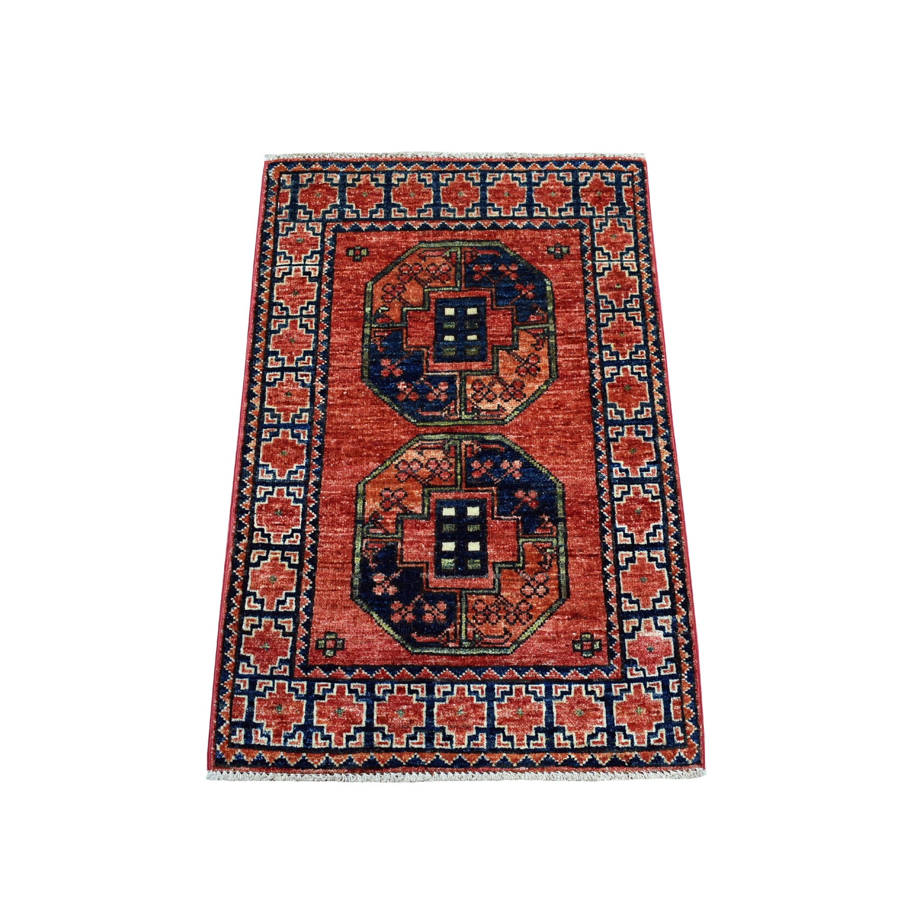 "2'X3'2"" Red Elephant Feet Design Afghan Ersari Hand Knotted Pure Wool Oriental Rug moaecbcd"