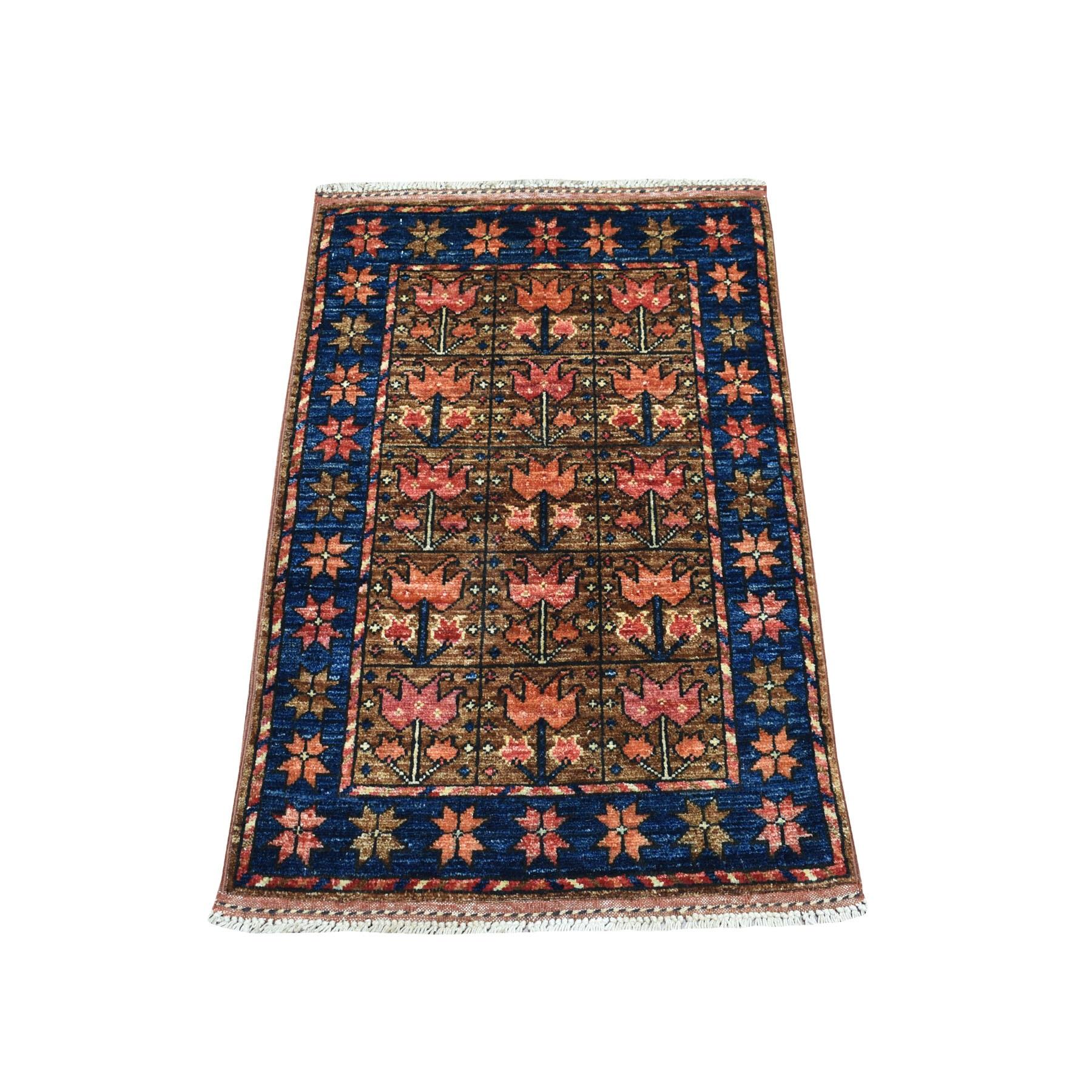 2'X3' Brown Afghan Ersari Tribal Design Hand Knotted Pure Wool Oriental Rug moaecbc6