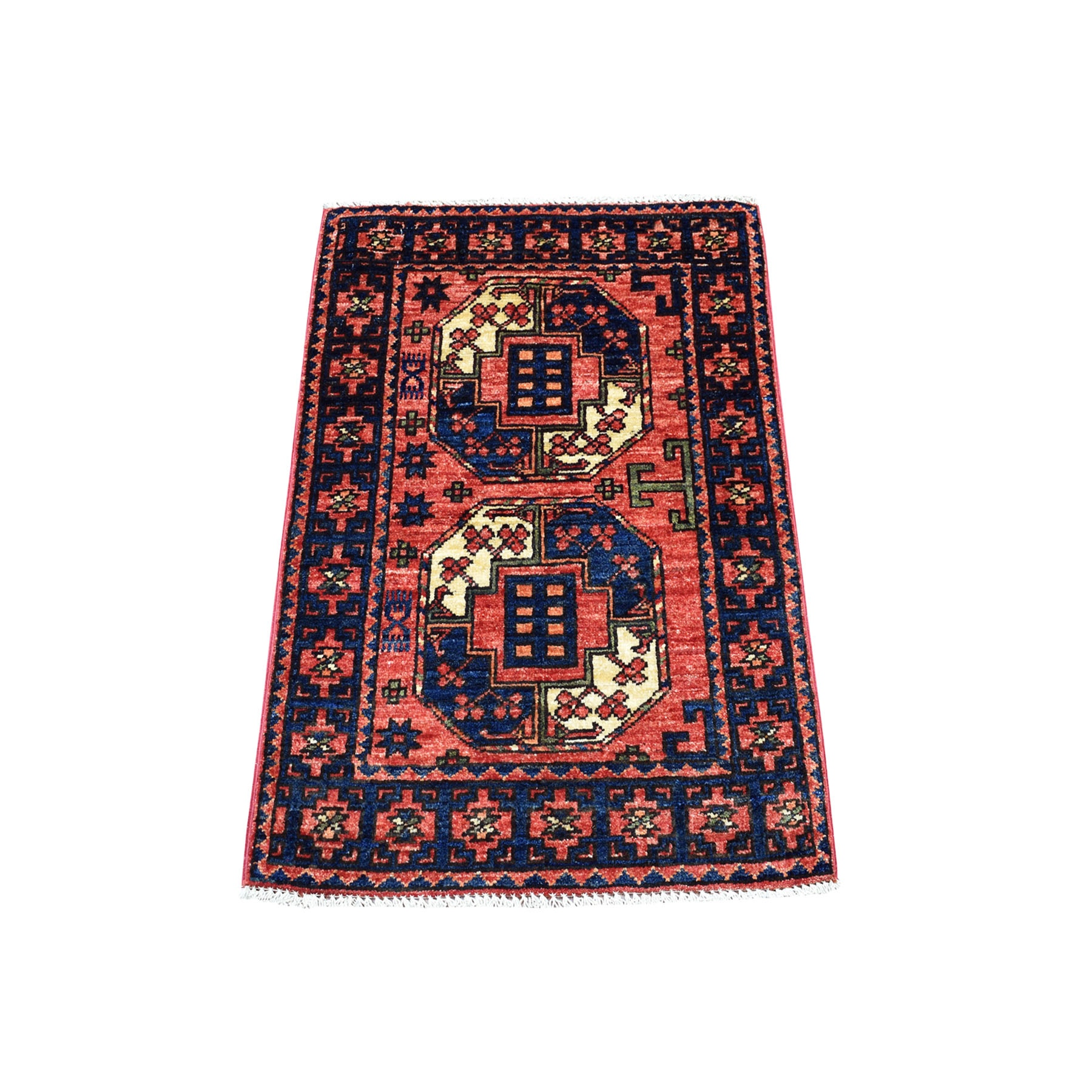 2'X3' Red Elephant Feet Design Hand Knotted Afghan Ersari Pure Wool Oriental Rug moaecbdb
