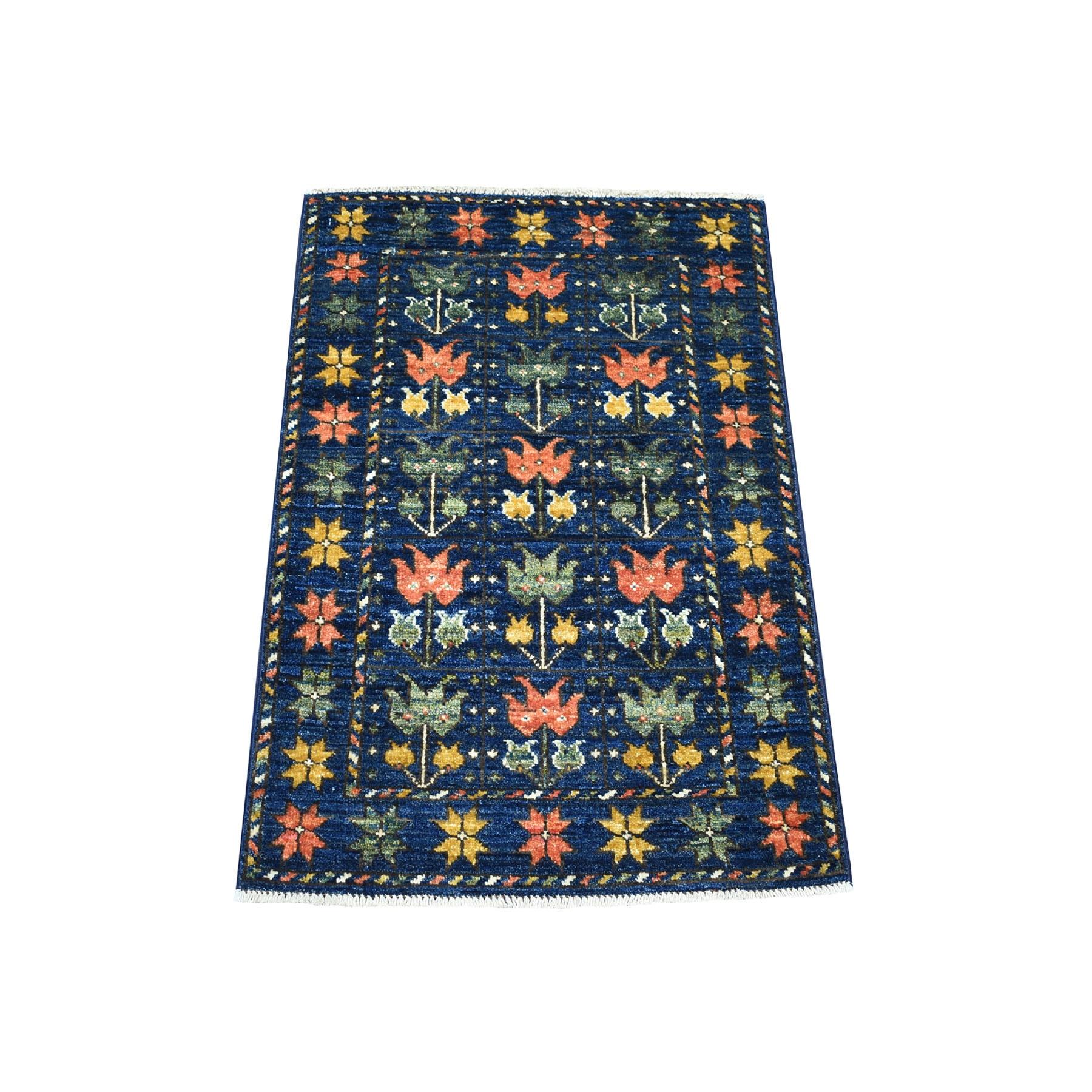 2'X3' Blue Tribal Design Hand Knotted Afghan Ersari Pure Wool Oriental Rug moaecbed