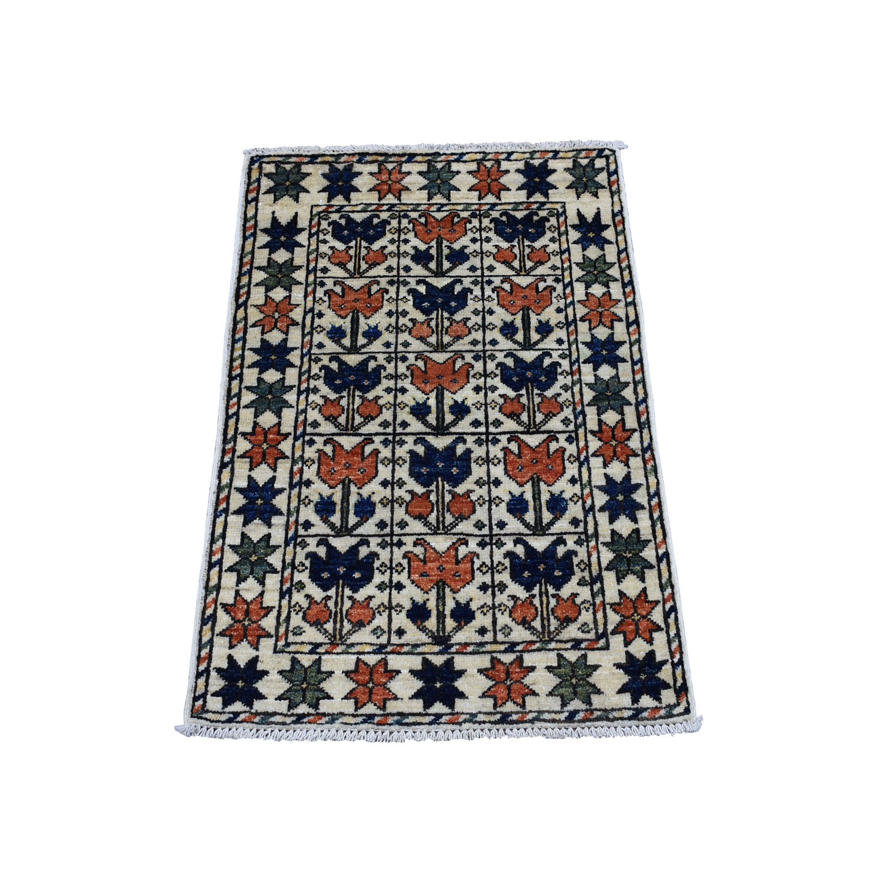 """2'X2'9"""" Ivory Pictorial Design Hand Knotted Afghan Ersari Pure Wool Oriental Rug moaecbee"""