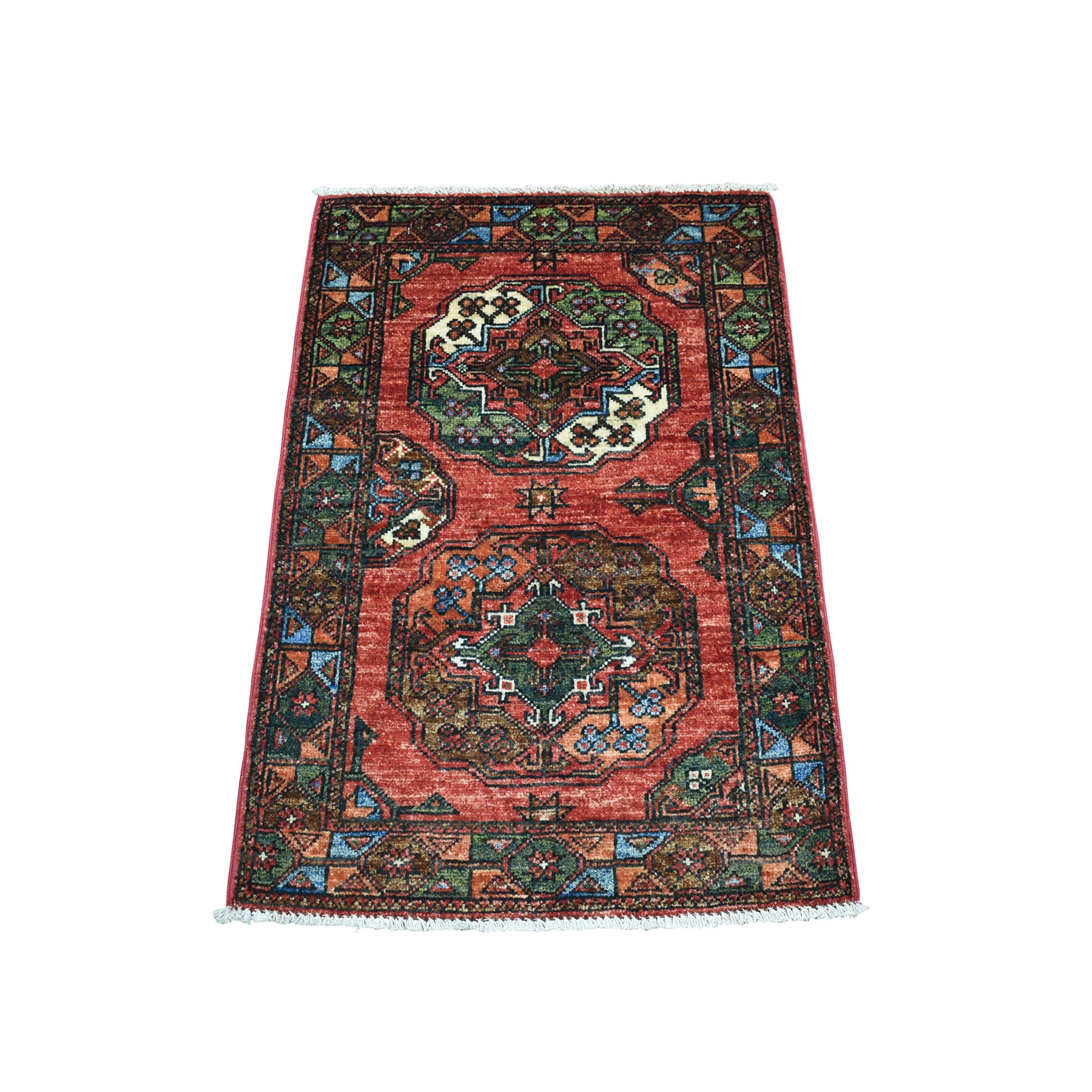 "2'x2'10"" Red Elephant Feet Afghan Ersari Hand Knotted Pure Wool Oriental Rug"