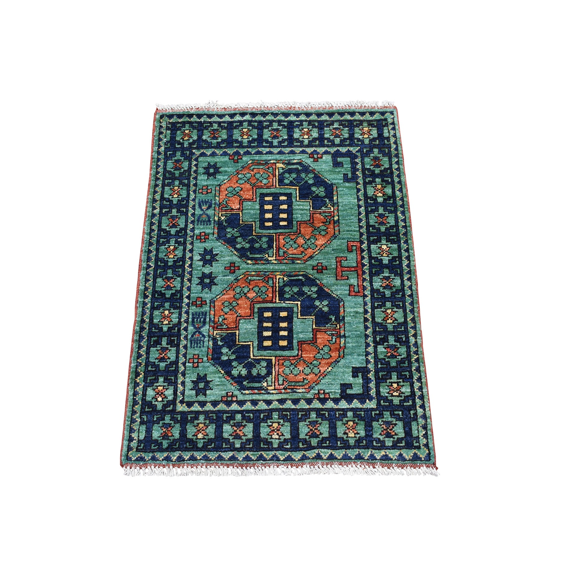 "2'x2'10"" Green Hand Knotted Afghan Ersari Elephant Feet Design Pure Wool Oriental Rug 53258"