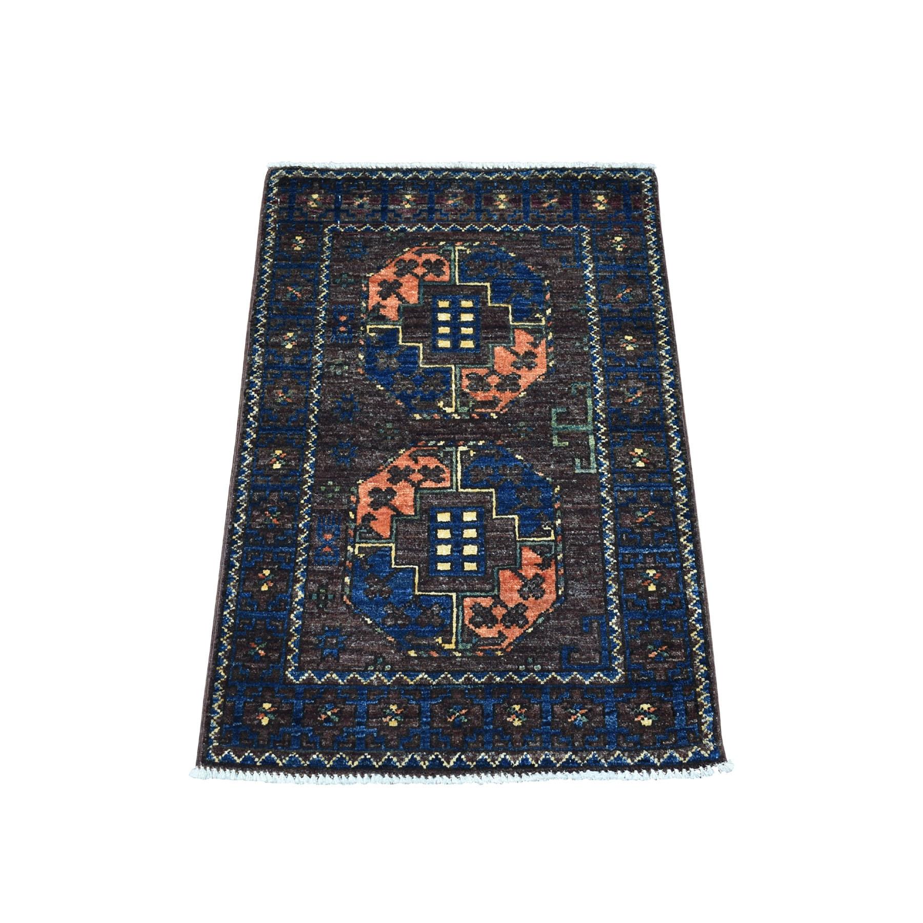 2'X3' Elephant Feet Design Afghan Ersari Hand Knotted Pure Wool Oriental Rug moaecb67