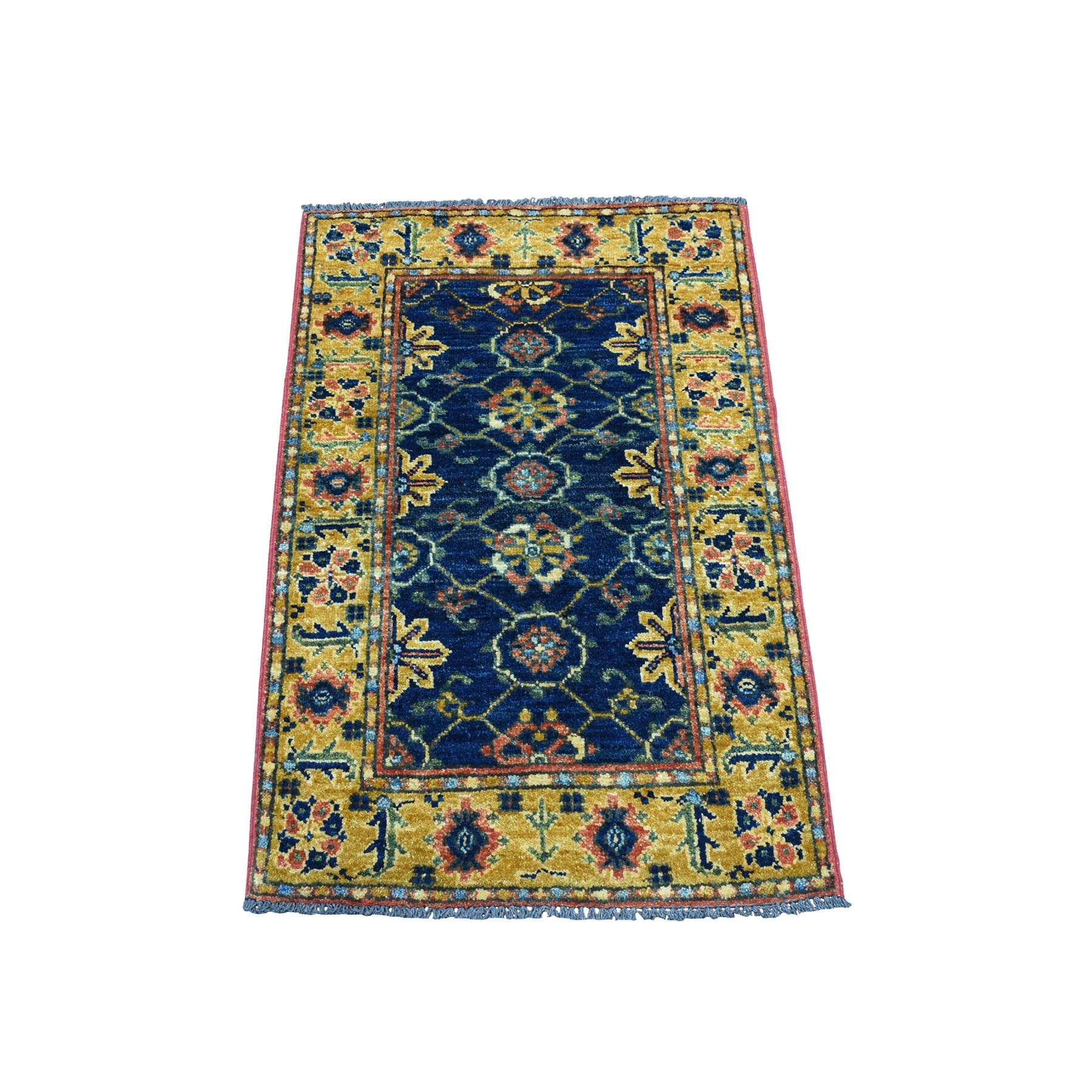 2'X3' Blue Afghan Ersari Tribal Design Hand Knotted Pure Wool Oriental Rug moaecb7a