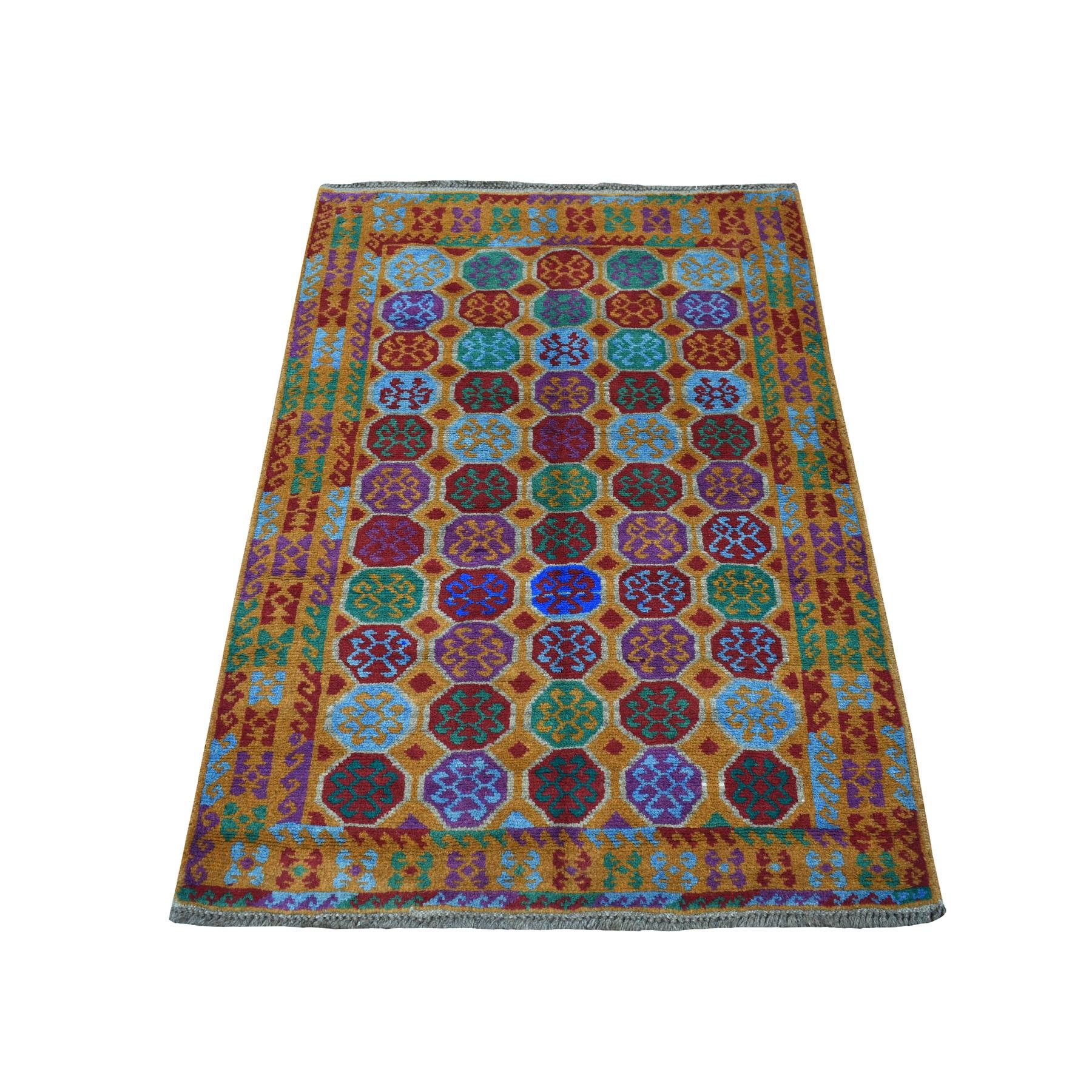 "3'5""X4'7"" Orange Elephant Feet Design Colorful Afghan Baluch Hand Knotted Pure Wool Oriental Rug moaecb7b"