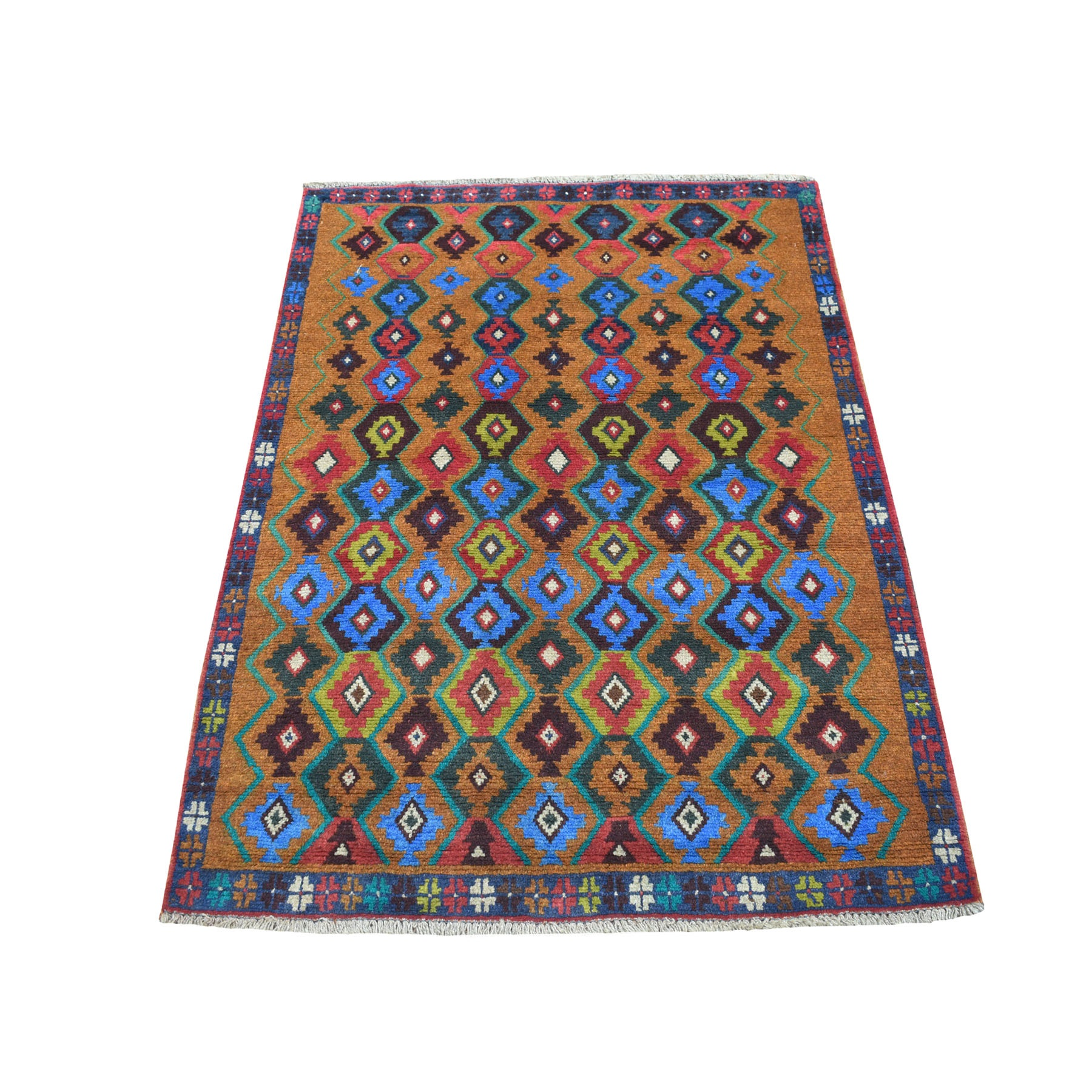 "3'5""X4'5"" Brown Tribal Design Colorful Afghan Baluch Hand Knotted Pure Wool Oriental Rug moaecb7d"