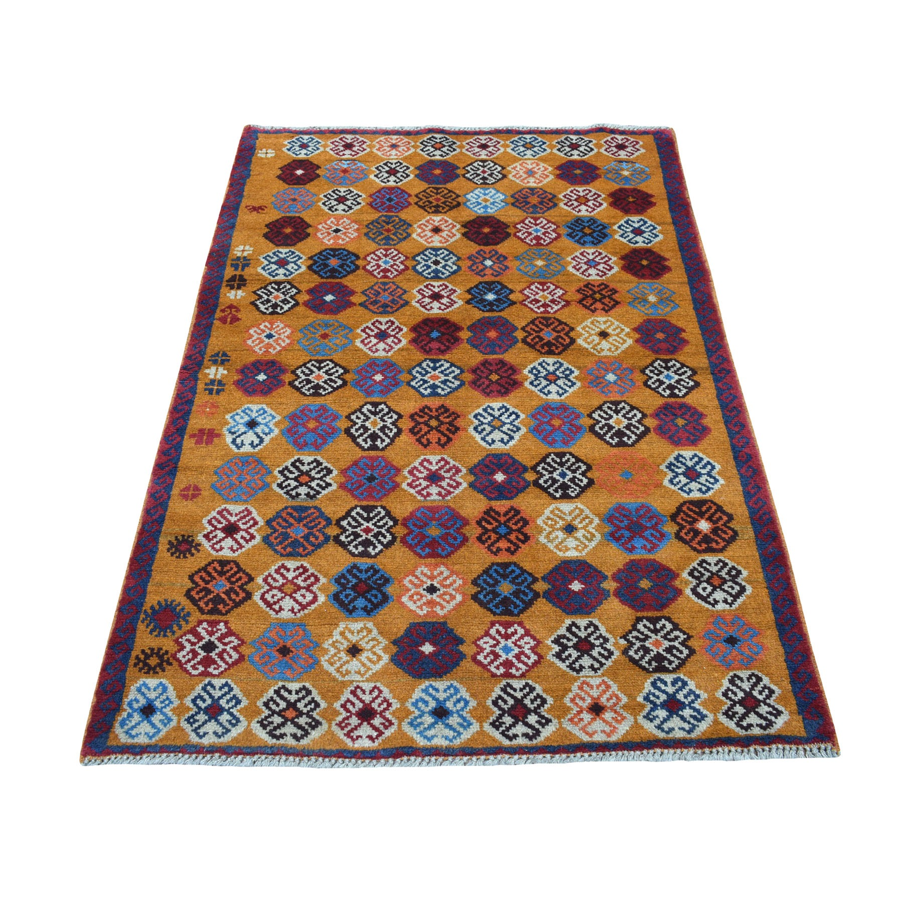 "3'8""x5'7"" Orange Colorful Afghan Baluch Tribal Design Hand Knotted Pure Wool Oriental Rug"