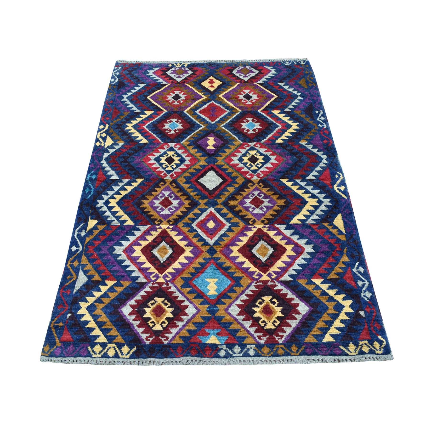 "3'8""X5'7"" Blue Tribal Design Colorful Afghan Baluch Hand Knotted Pure Wool Oriental Rug moaecb76"