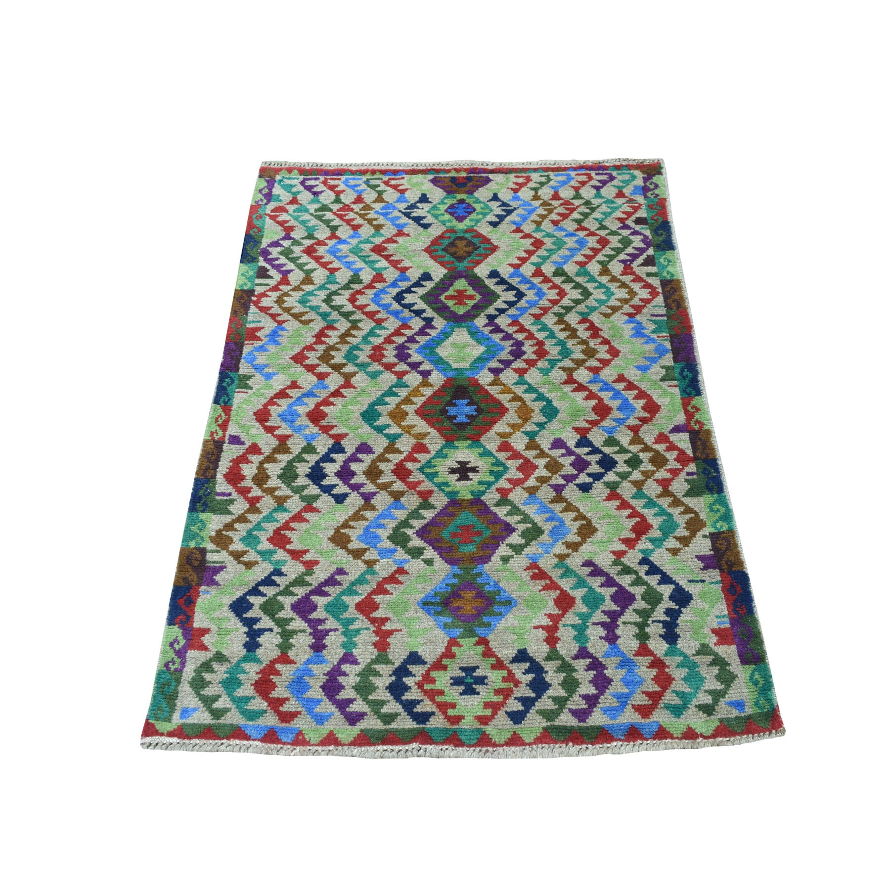 """3'3""""X4'7"""" Gray Colorful Afghan Baluch Tribal Design Pure Wool Hand Knotted Oriental Rug moaecb77"""
