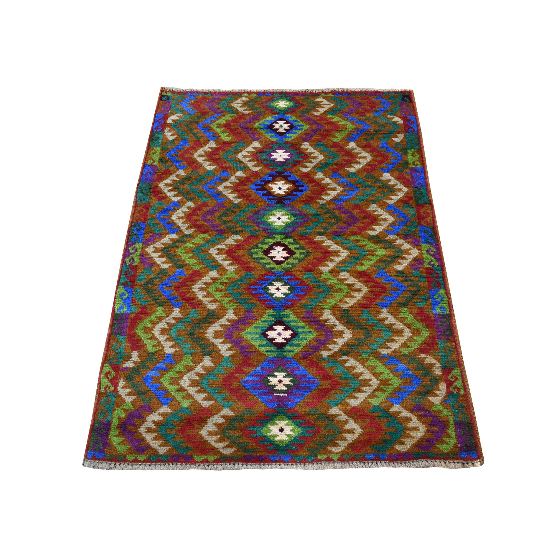 "3'6""X4'8"" Brown Hand Knotted Colorful Afghan Baluch Pure Wool Tribal Design Oriental Rug moaecb78"