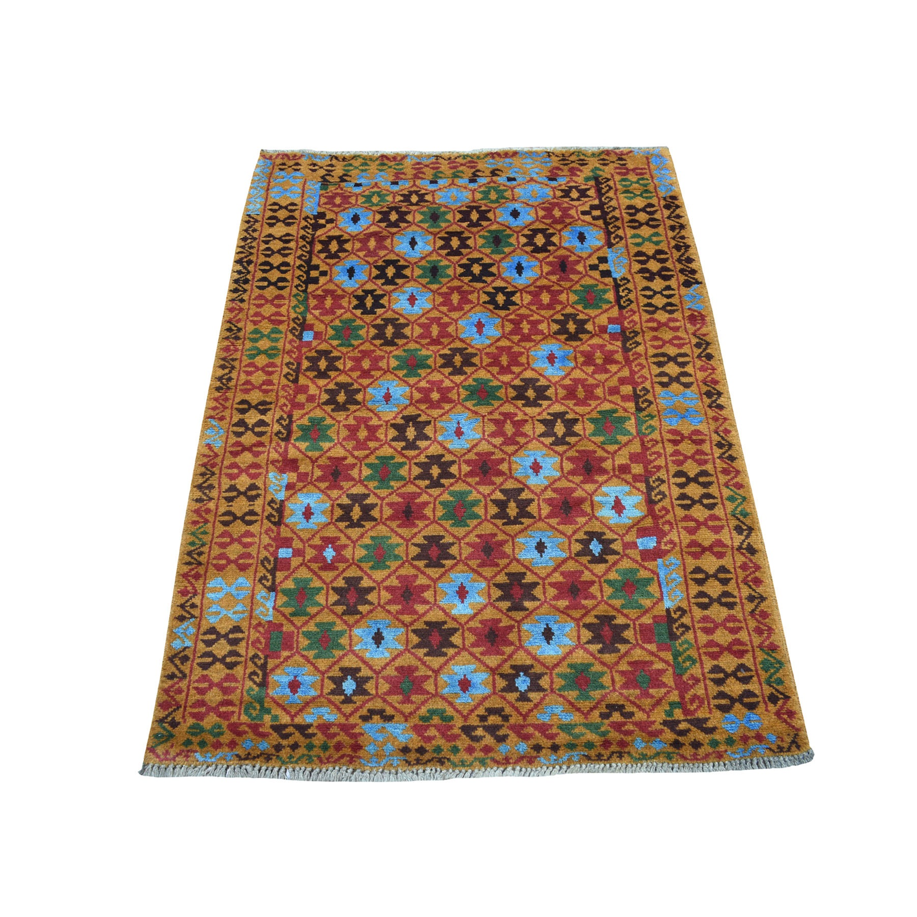 "3'5""X4'10"" Orange Tribal Design Colorful Afghan Baluch Hand Knotted Pure Wool Oriental Rug moaecb79"