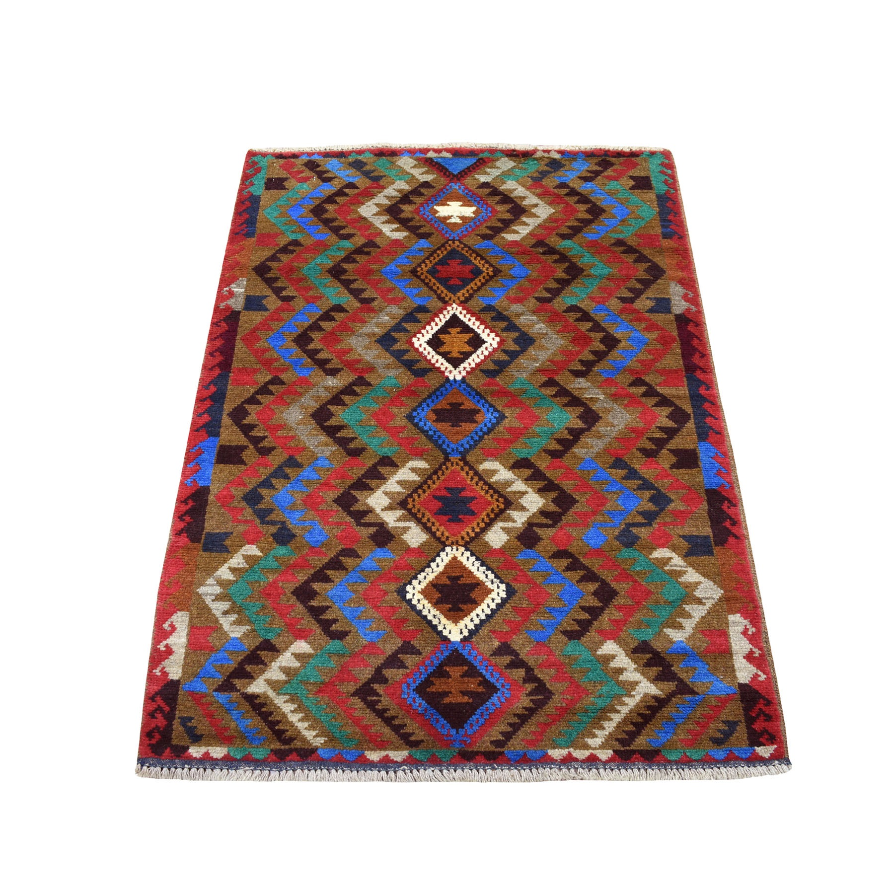"3'X4'6"" Brown Hand Knotted Tribal Design Colorful Afghan Baluch Pure Wool Oriental Rug moaecb80"