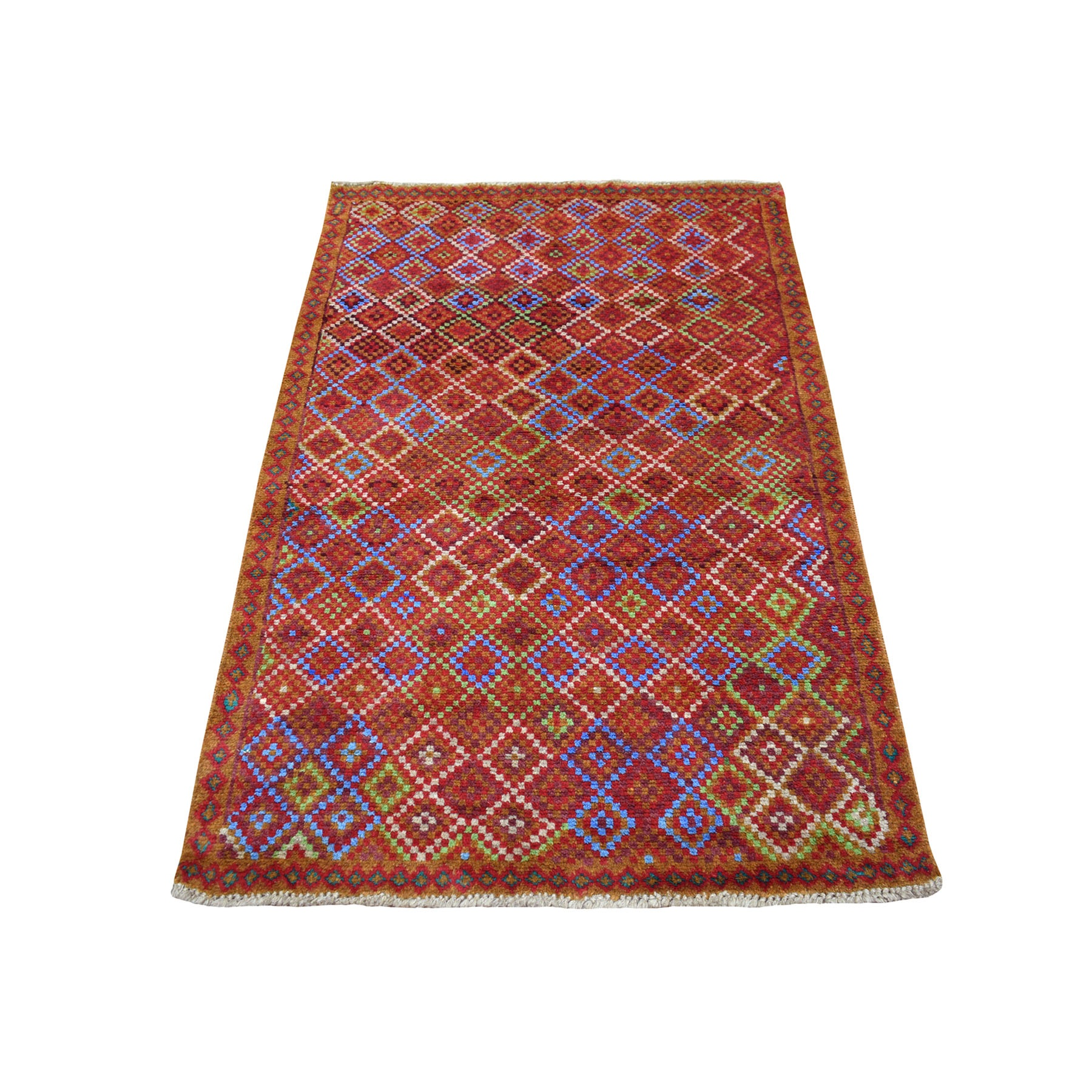 "3'5""X5' Brown Tribal Design Colorful Afghan Baluch Hand Knotted Pure Wool Oriental Rug moaecb8a"