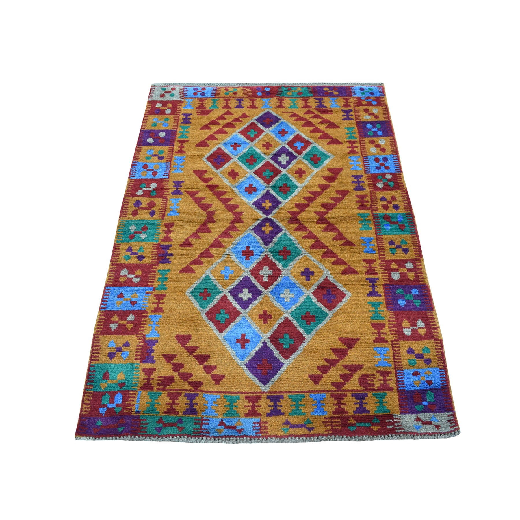 "3'5""X4'8"" Orange Geometric Design Hand Knotted Colorful Afghan Baluch Pure Wool Oriental Rug moaecb8b"