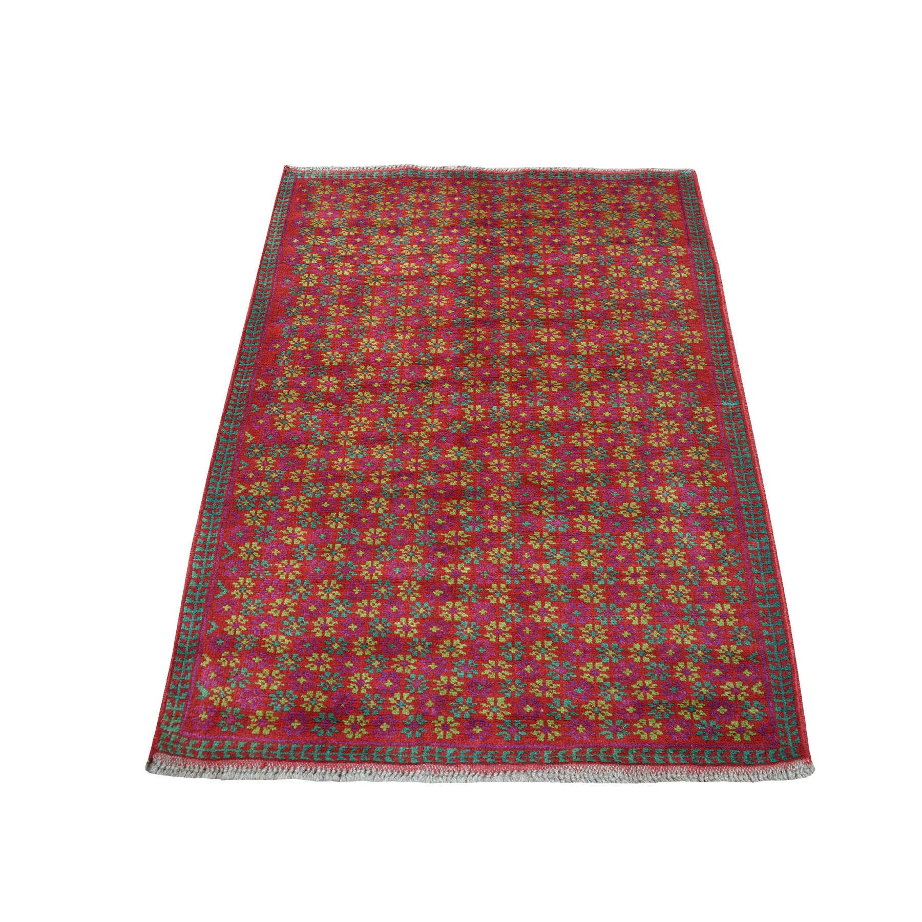 "3'8""X4'7"" Red Colorful Afghan Baluch All Over Design Hand Knotted Pure Wool Oriental Rug moaecb8d"