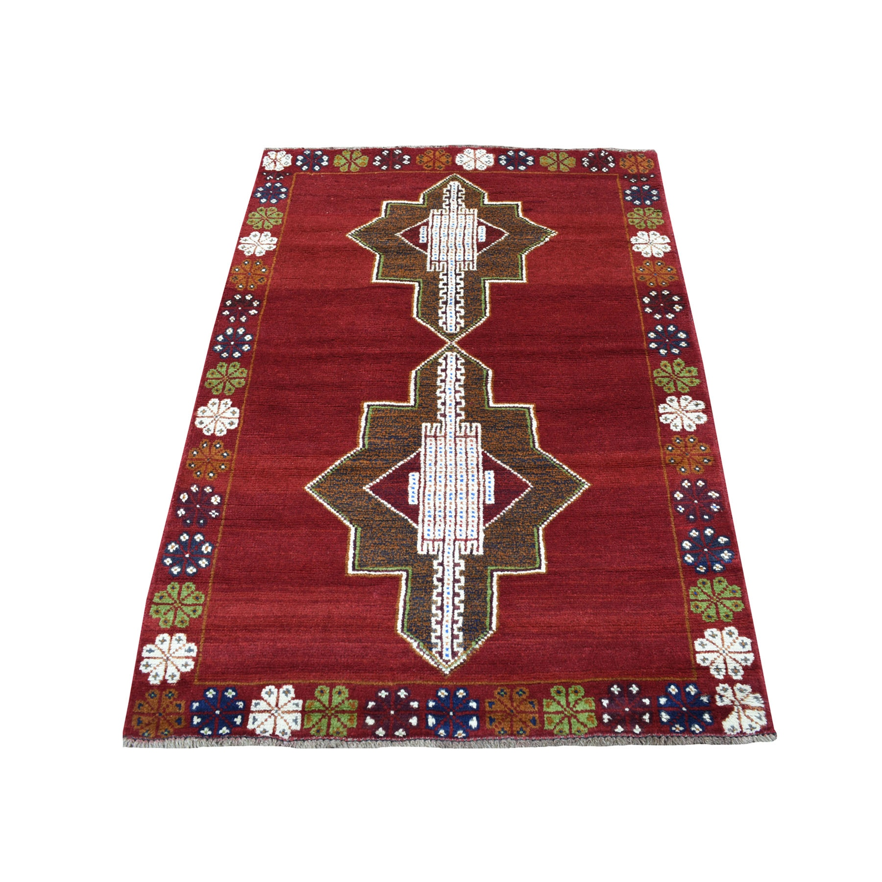 "3'7""X4'10"" Red Colorful Afghan Baluch Tribal Design Hand Knotted Pure Wool Oriental Rug moaecb8e"