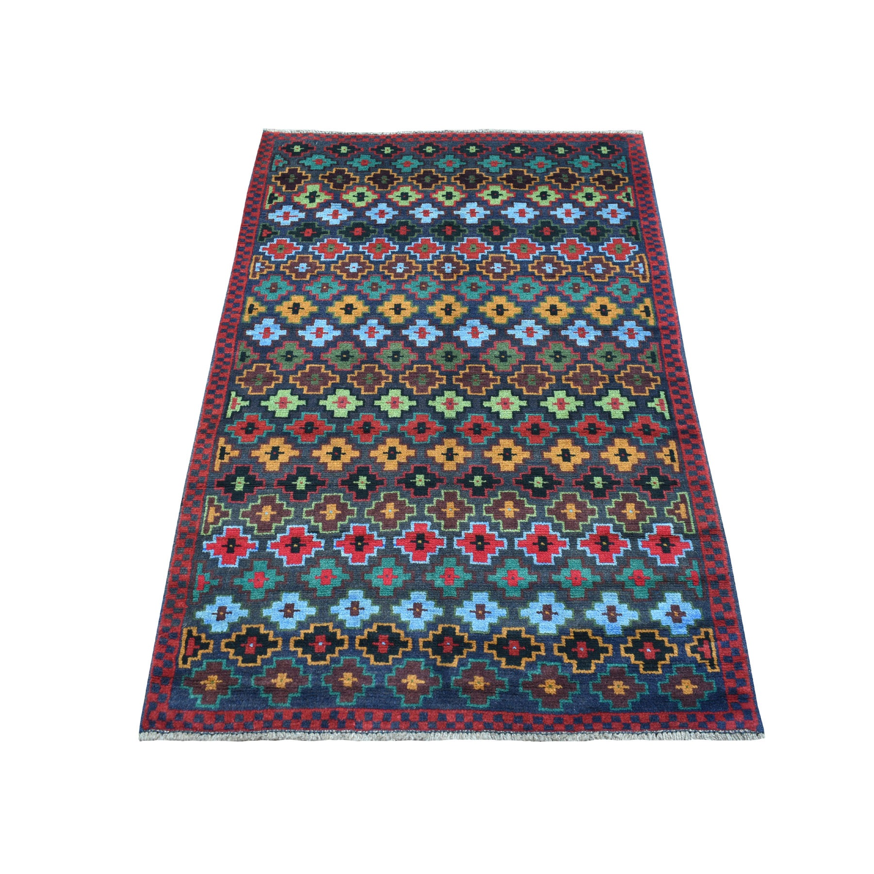 """3'2""""X5' Blue All Over Design Colorful Afghan Baluch Pure Wool Hand Knotted Oriental Rug moaecb87"""