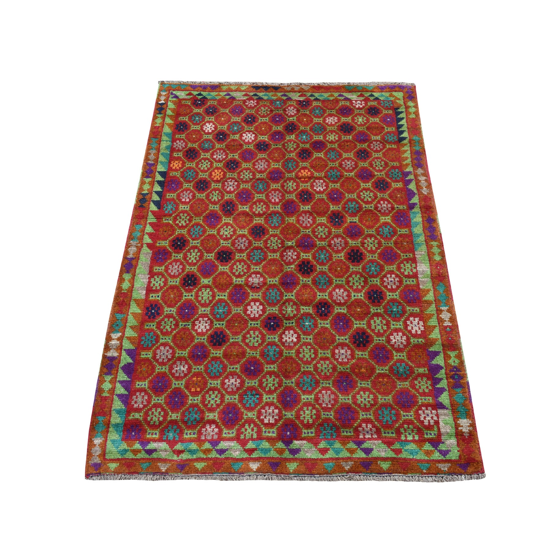"""3'X4'8"""" Orange Tribal Design Colorful Afghan Baluch Hand Knotted Pure Wool Oriental Rug moaecb88"""